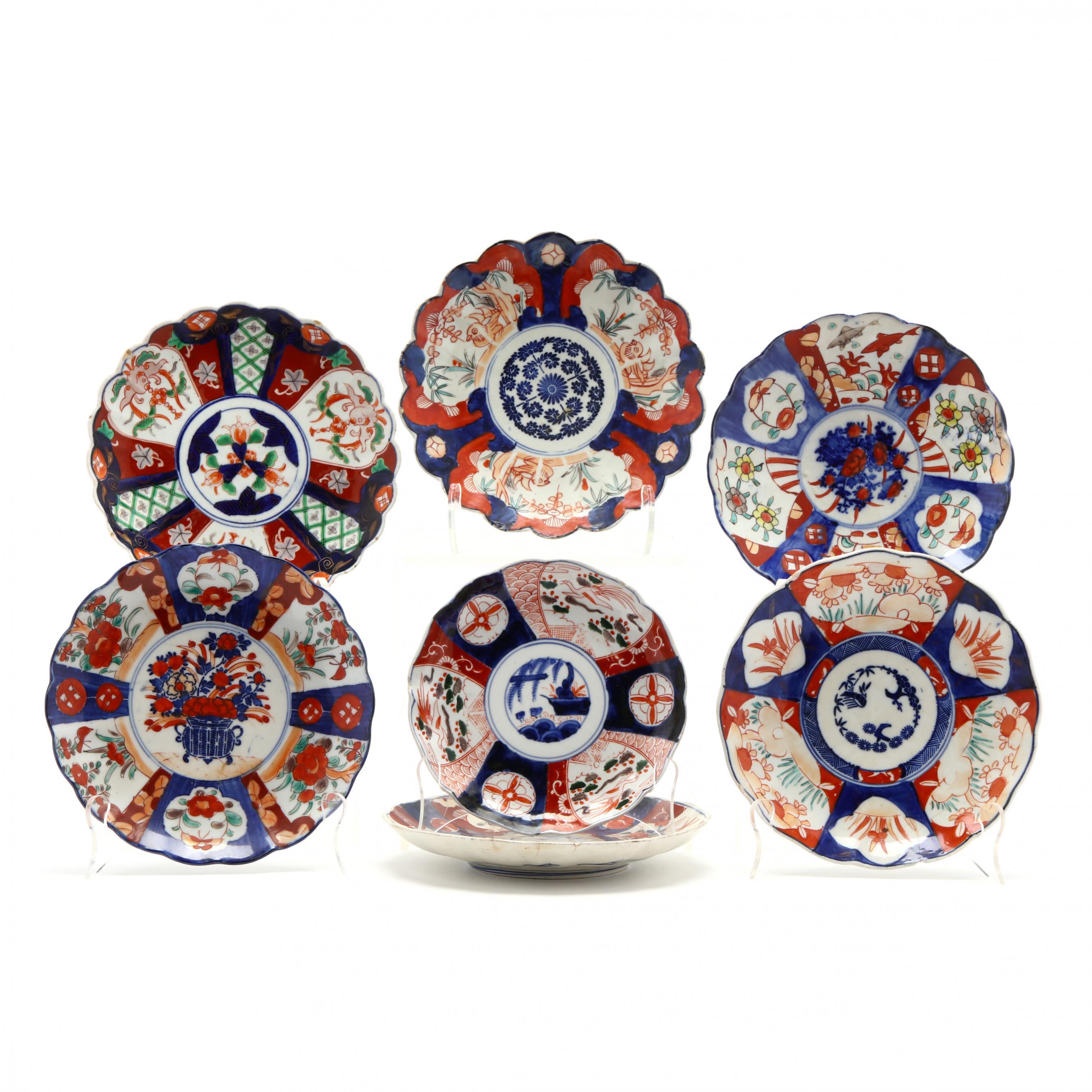 seven-antique-japanese-imari-porcelain-plates