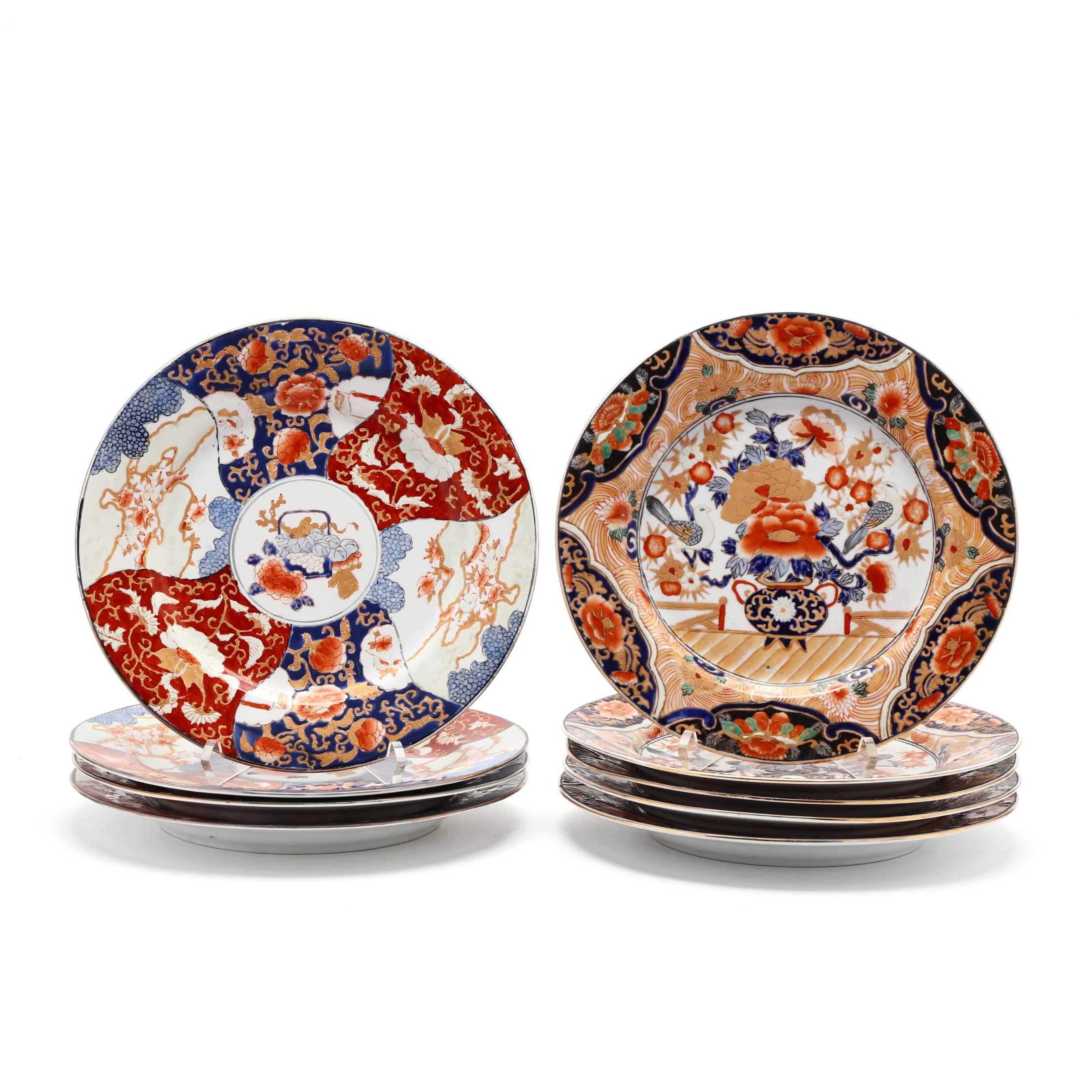 nine-japanese-imari-porcelain-dinner-plates