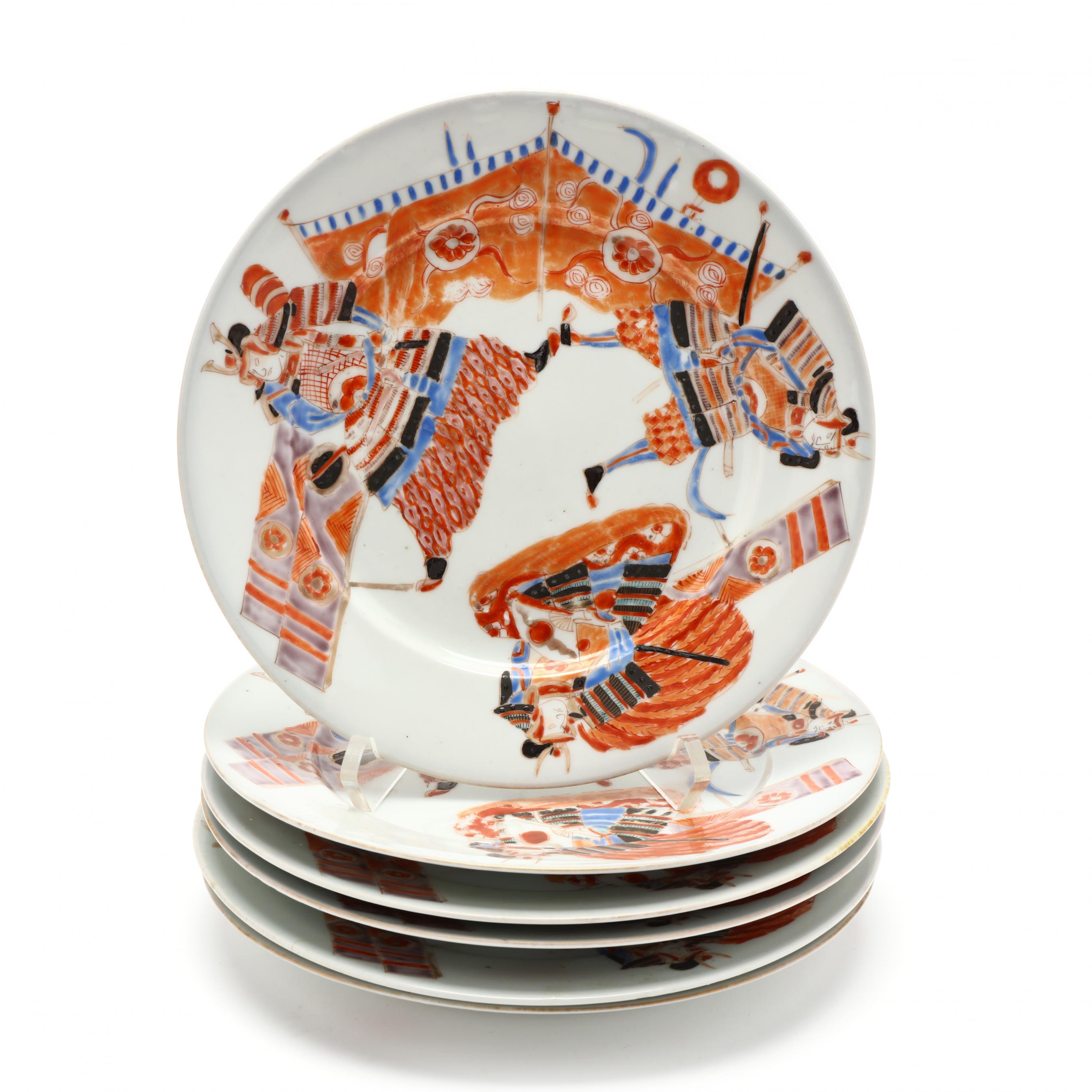 six-japanese-plates-decorated-with-warriors