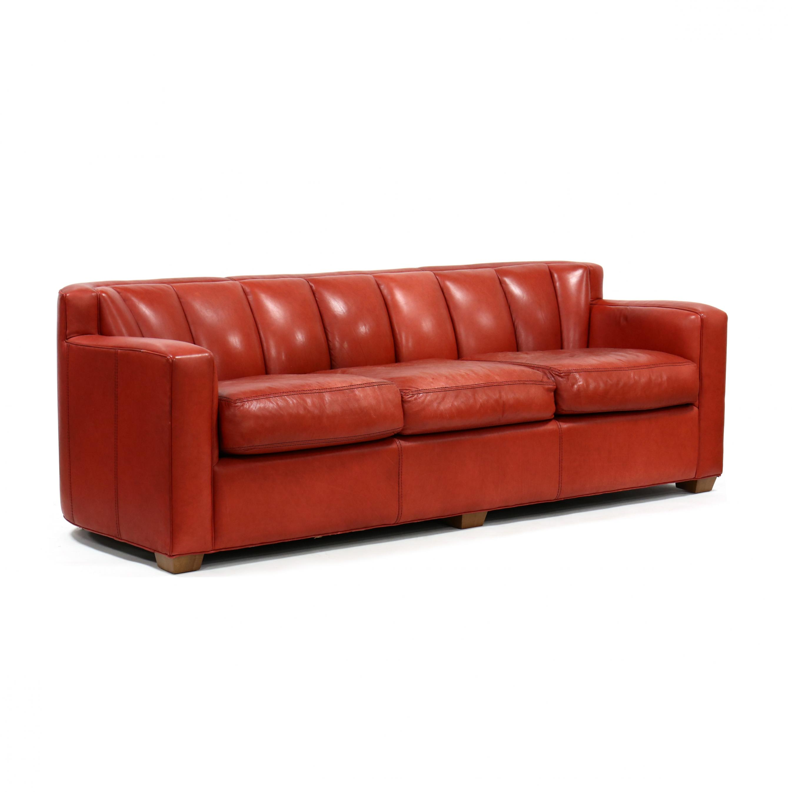 thomasville-furniture-modern-red-leather-sofa