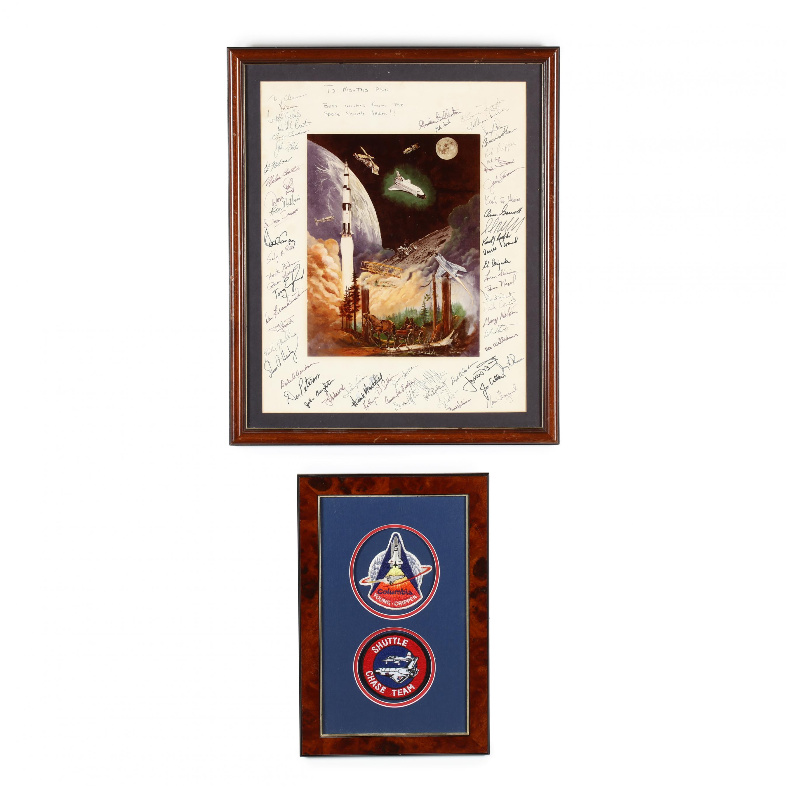 nasa-shuttle-team-autographed-poster-and-two-patches