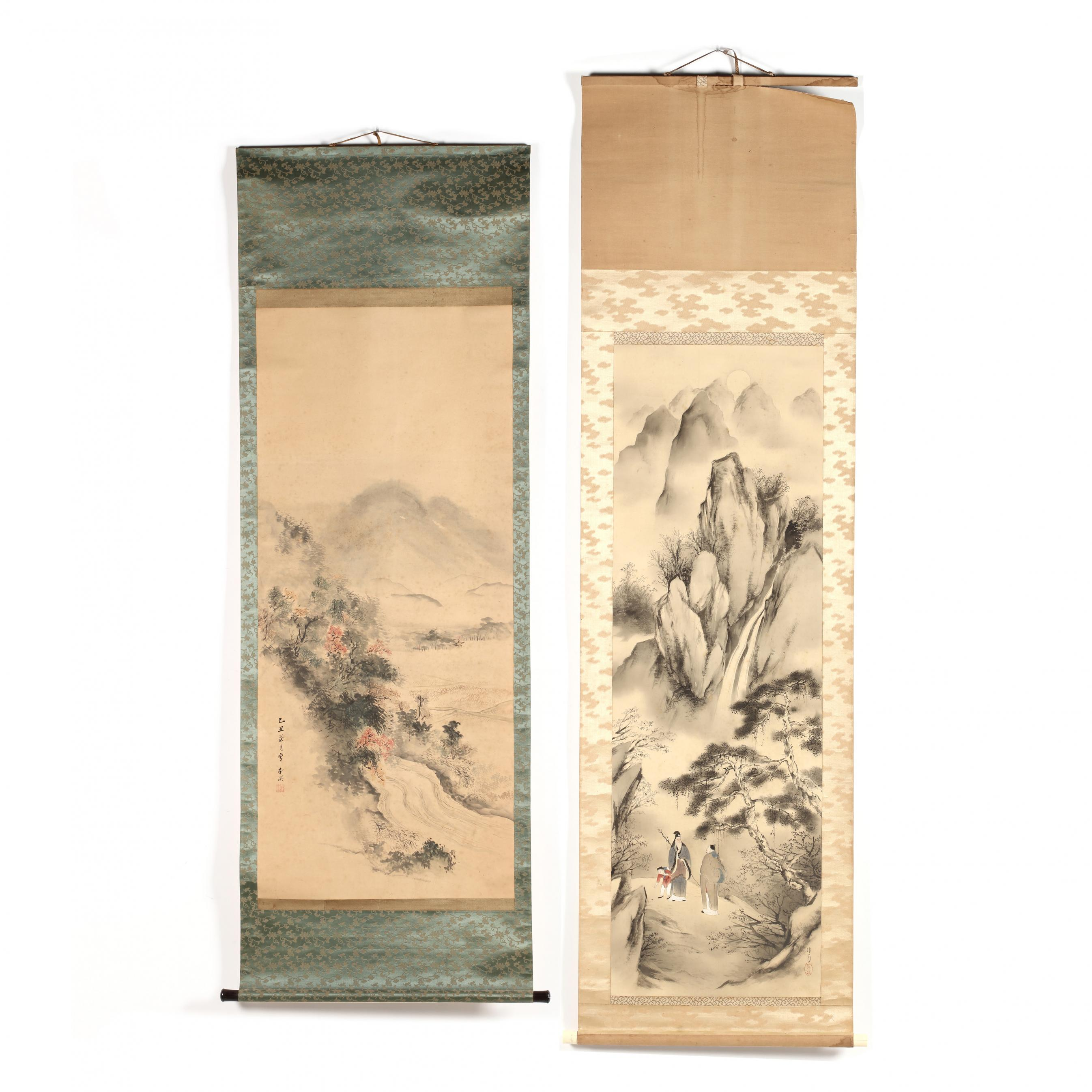 two-japanese-hanging-scroll-paintings
