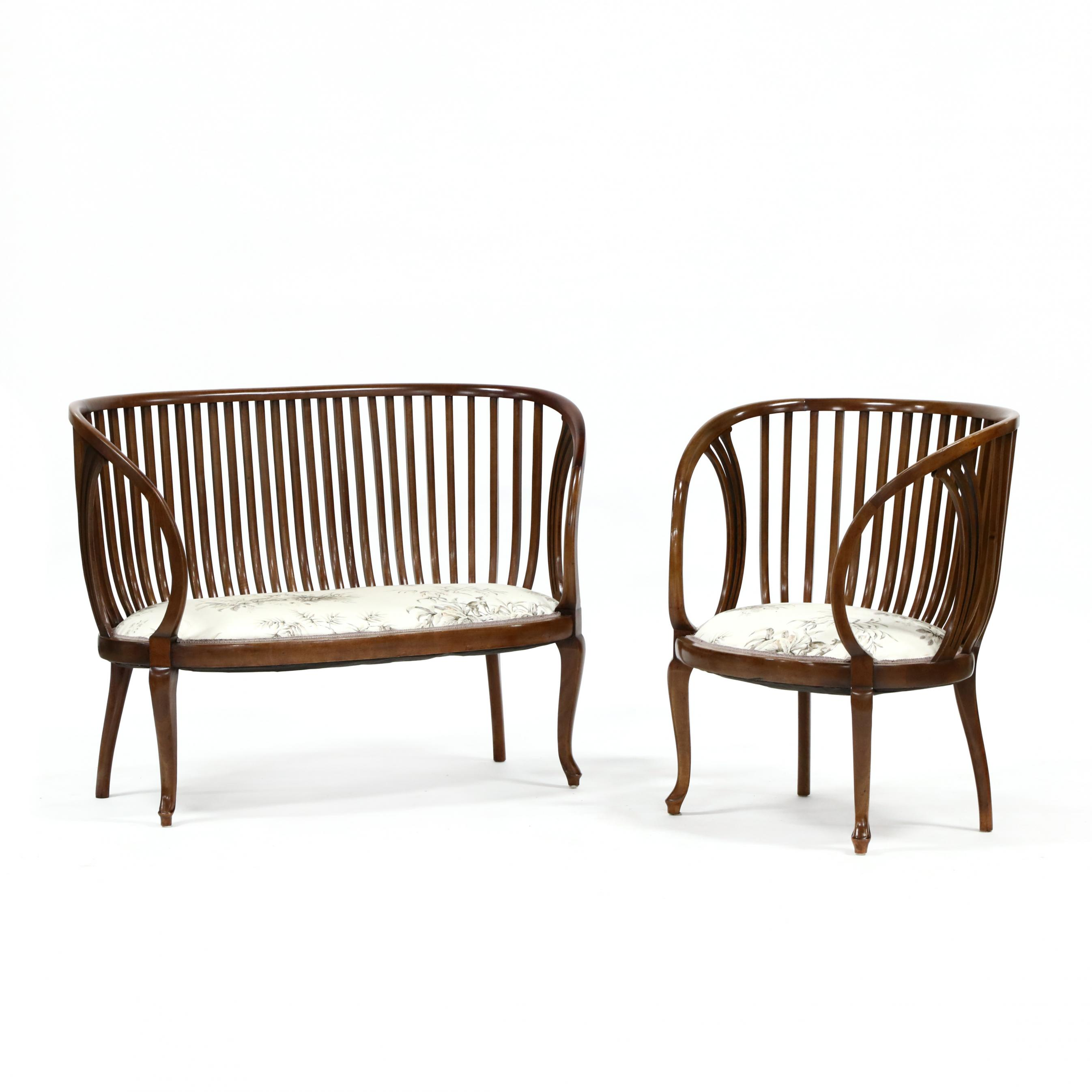transitional-continental-bentwood-settee-and-armchair