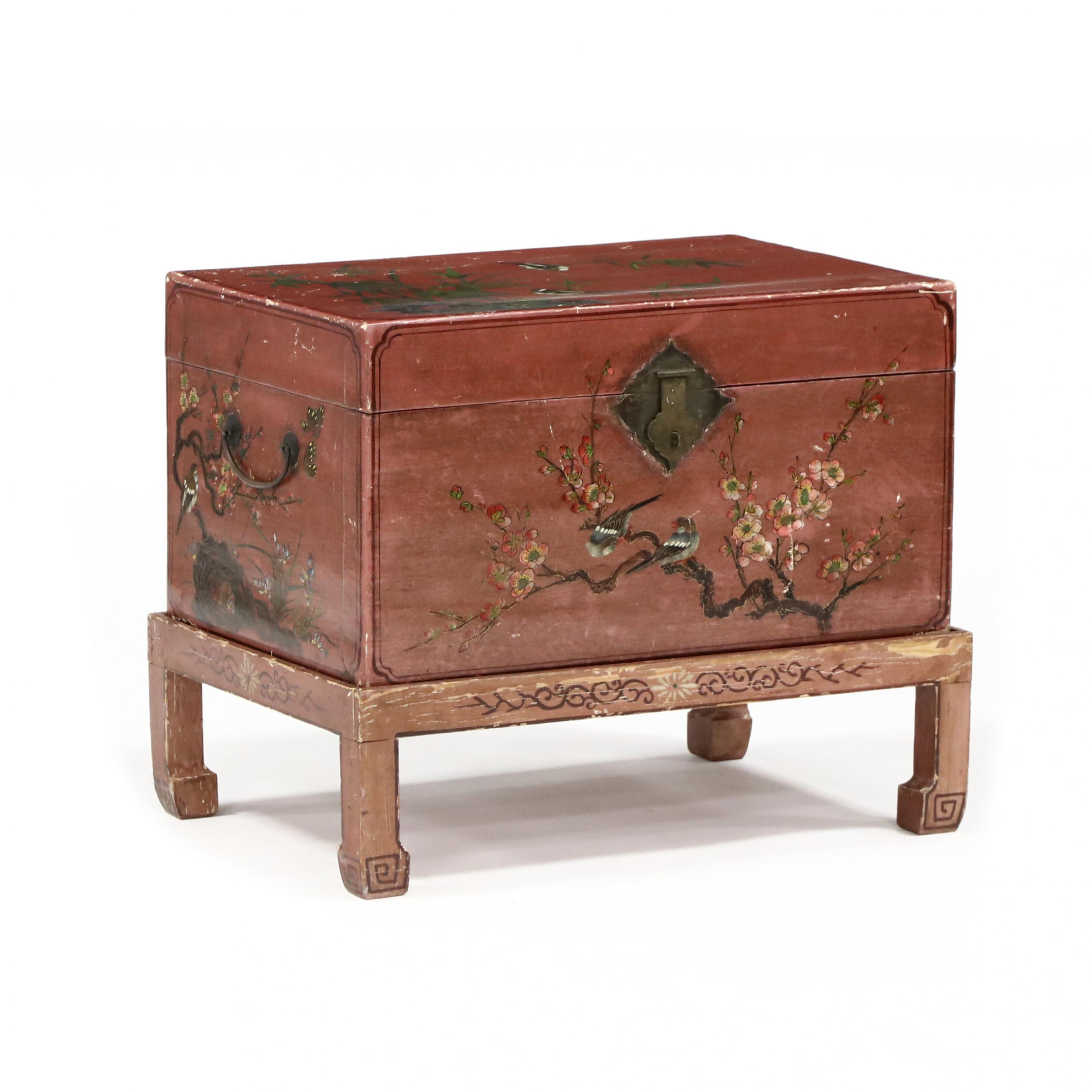 antique-chinese-painted-pigskin-trunk-on-stand