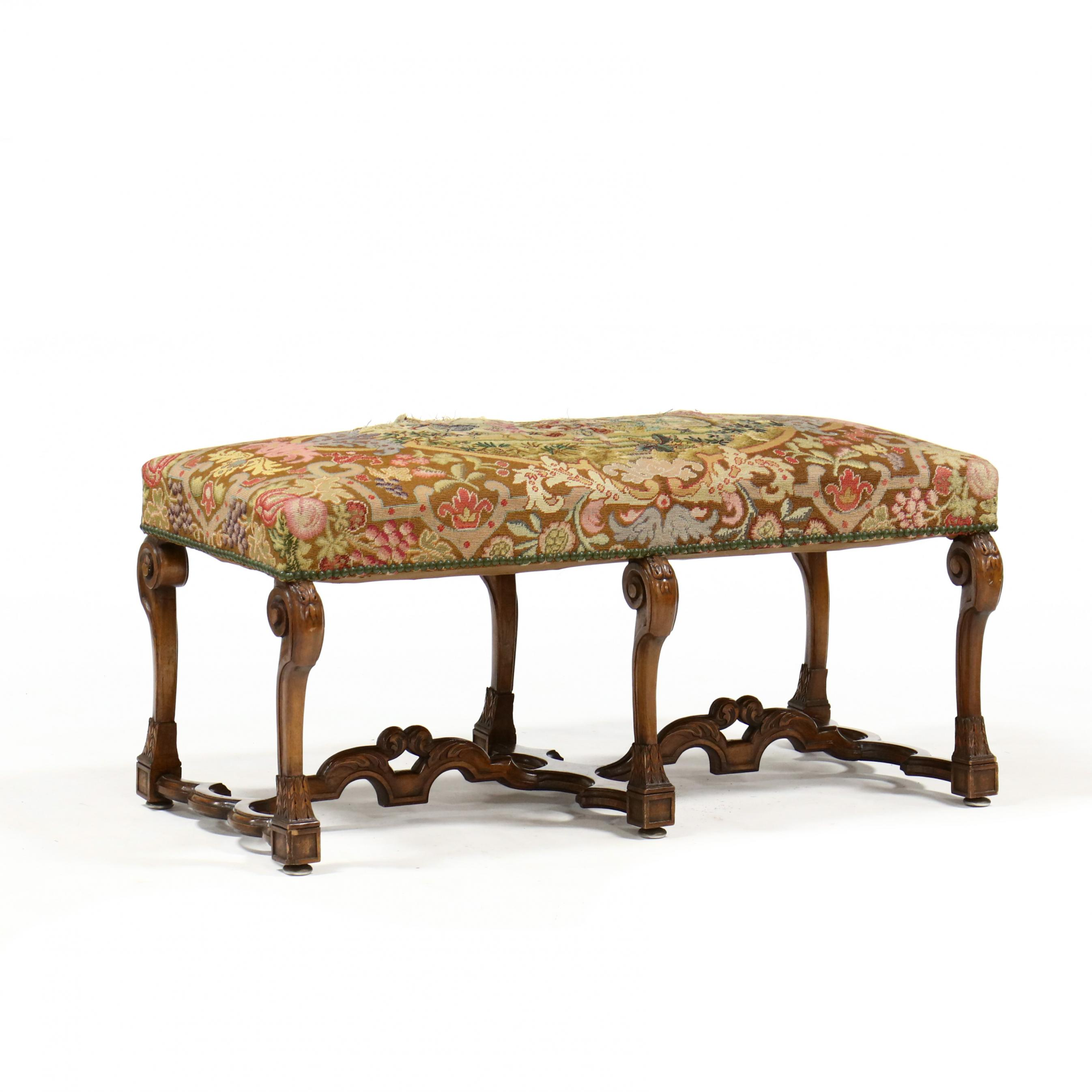 italian-baroque-style-carved-walnut-upholstered-bench