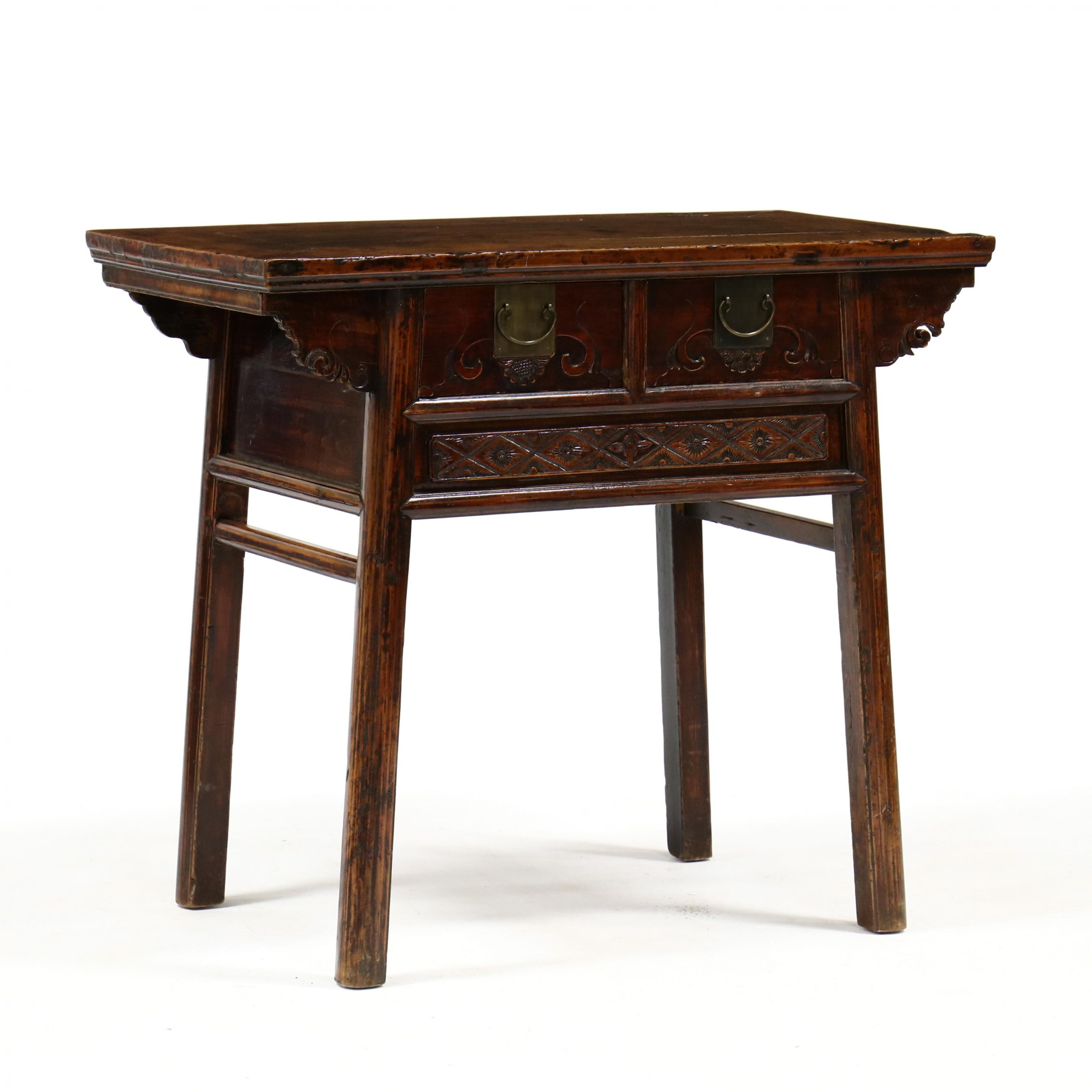 antique-chinese-two-drawer-console-table