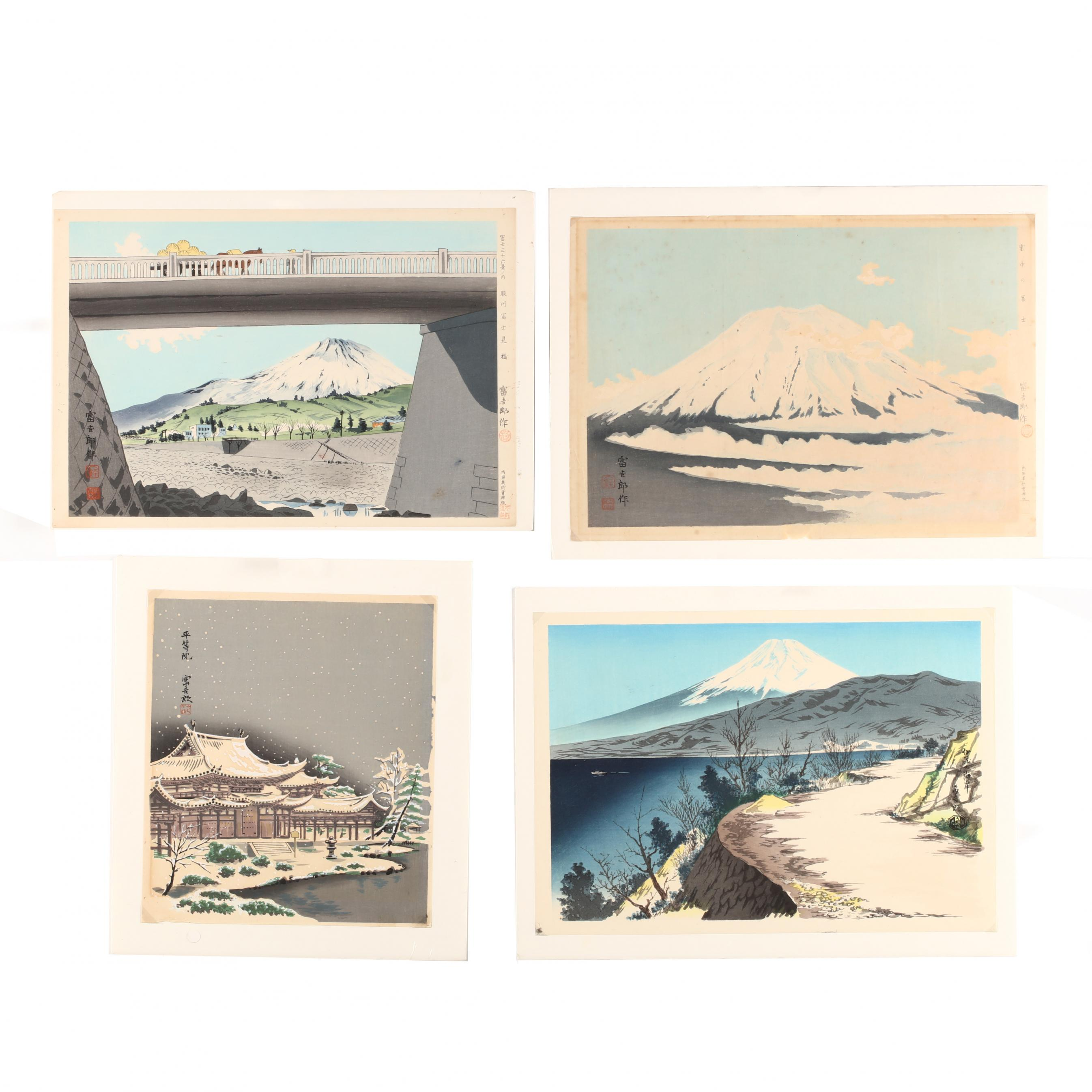 tokuriki-tomikichiro-japanese-1902-1999-four-woodblock-prints