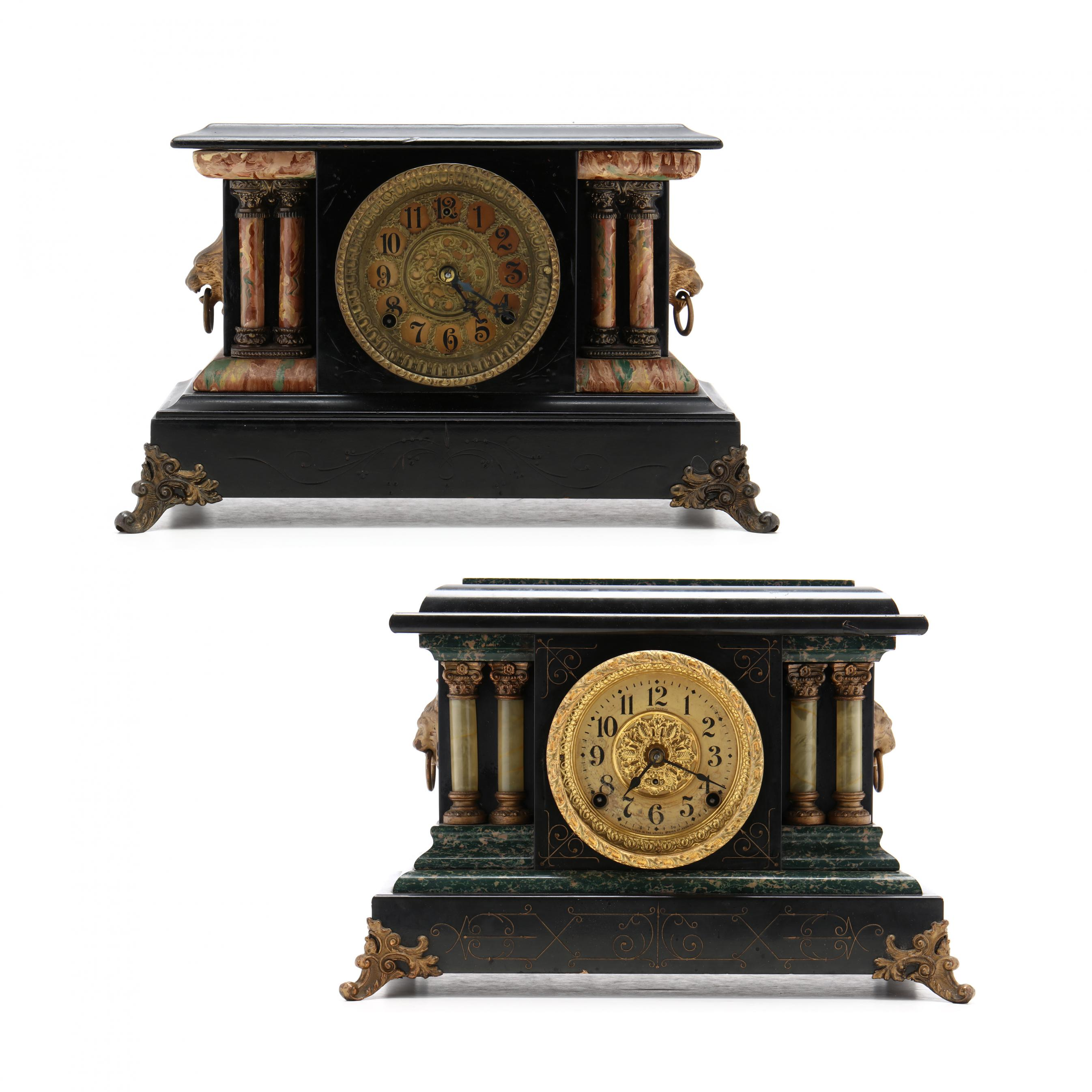 two-victorian-faux-painted-mantel-clocks