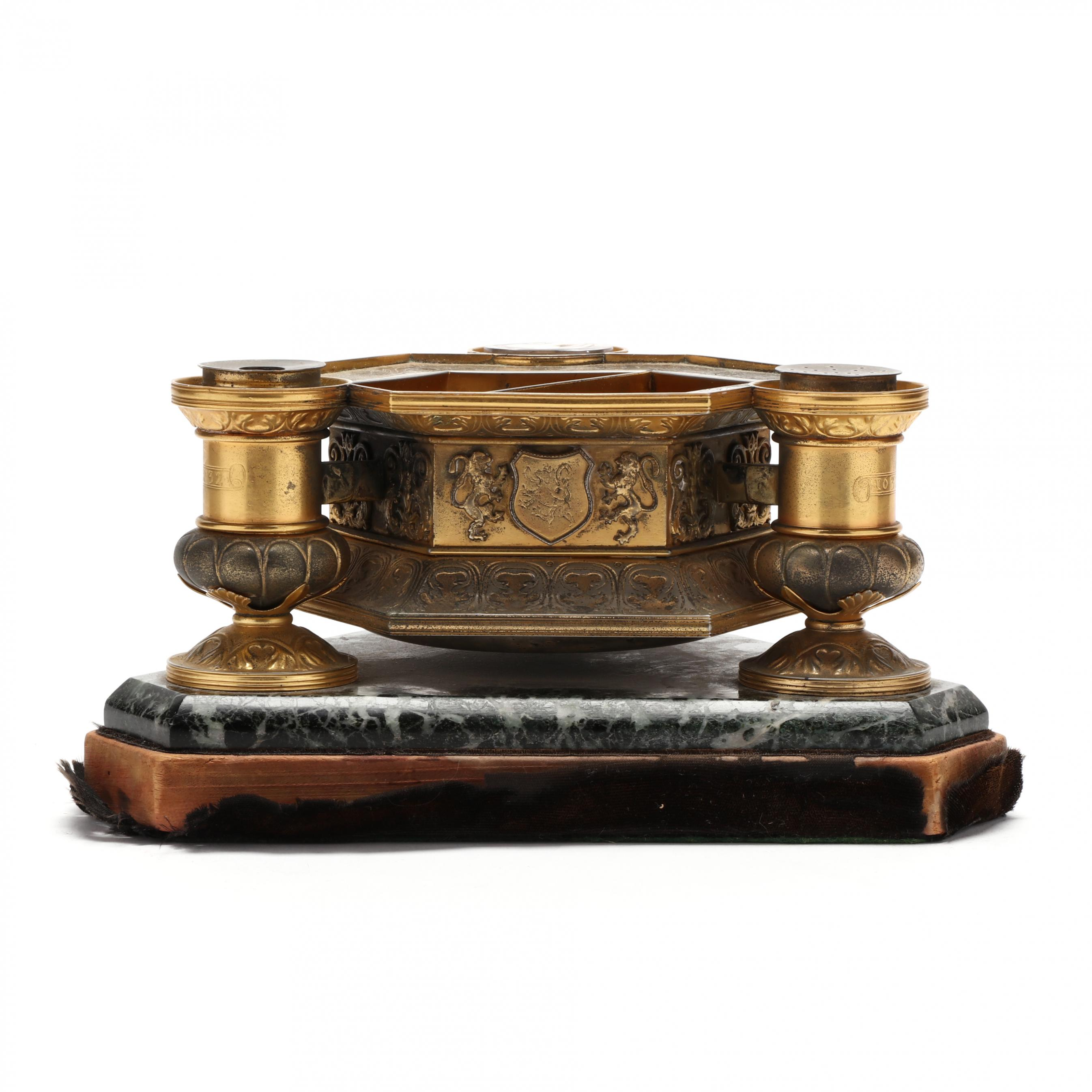 french-armorial-gilt-bronze-and-marble-standish