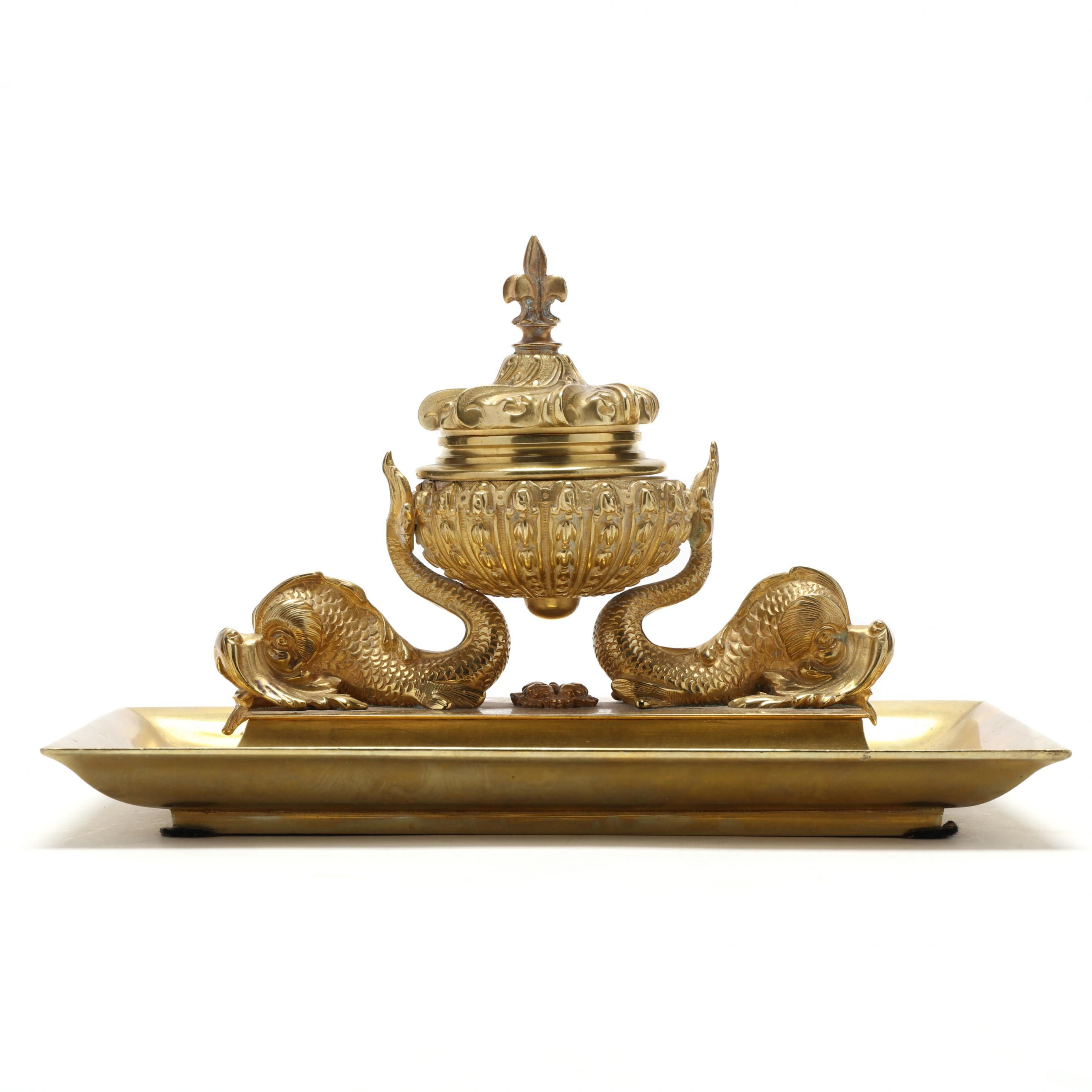 antique-figural-gilt-brass-ink-stand