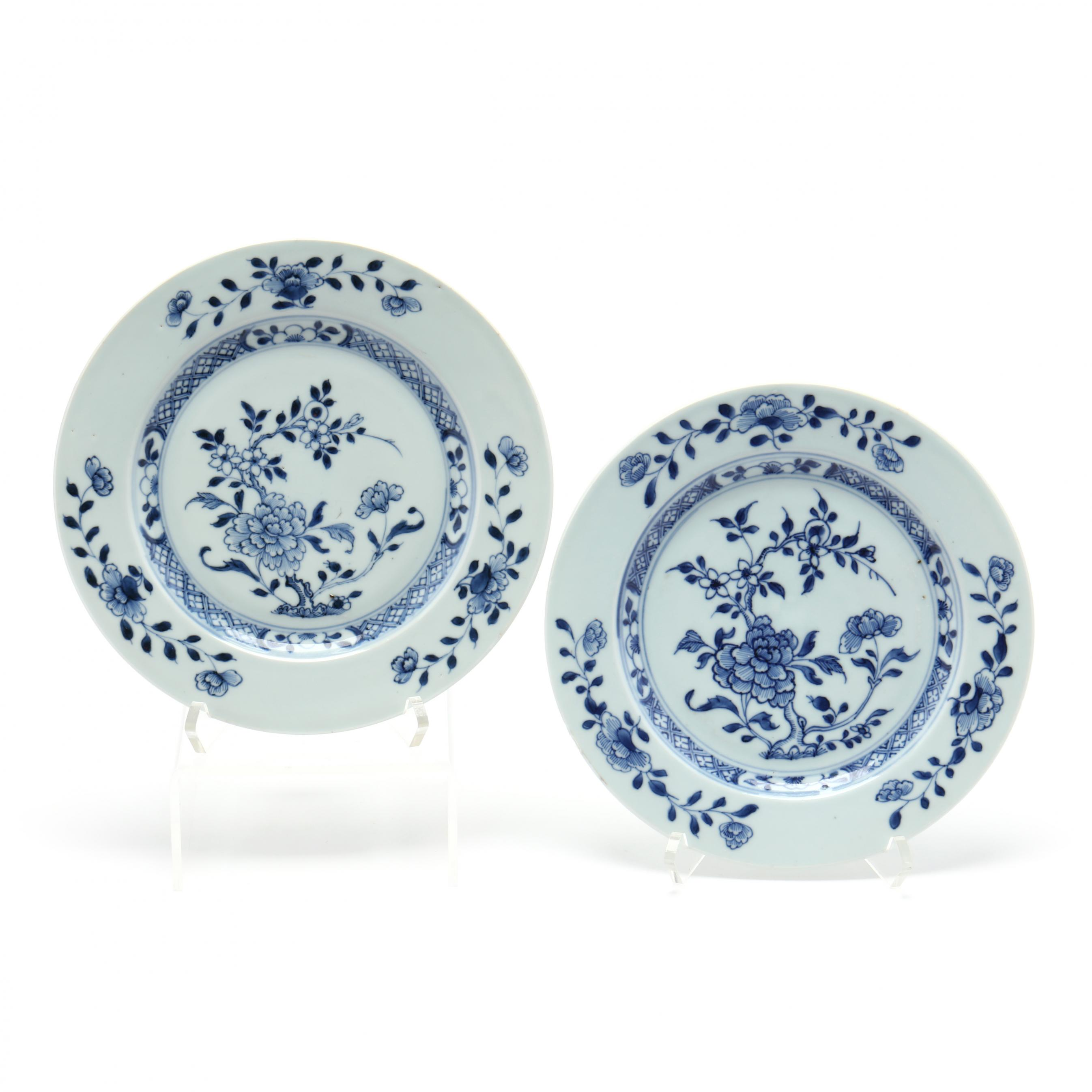 two-chinese-blue-and-white-nanking-cargo-plates