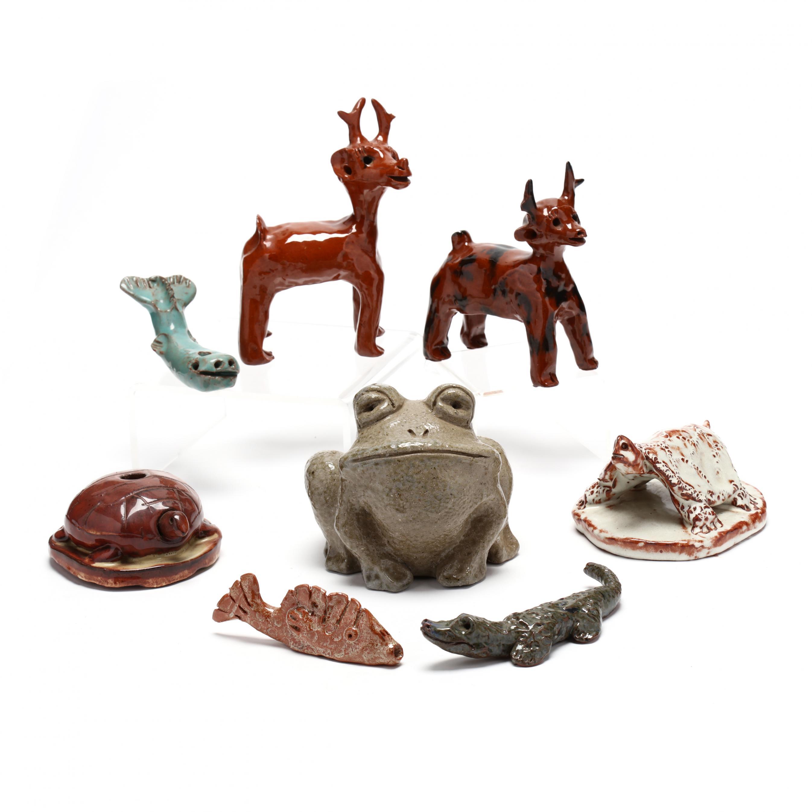nc-folk-pottery-eight-vintage-molded-animals-jb-cole-and-jugtown