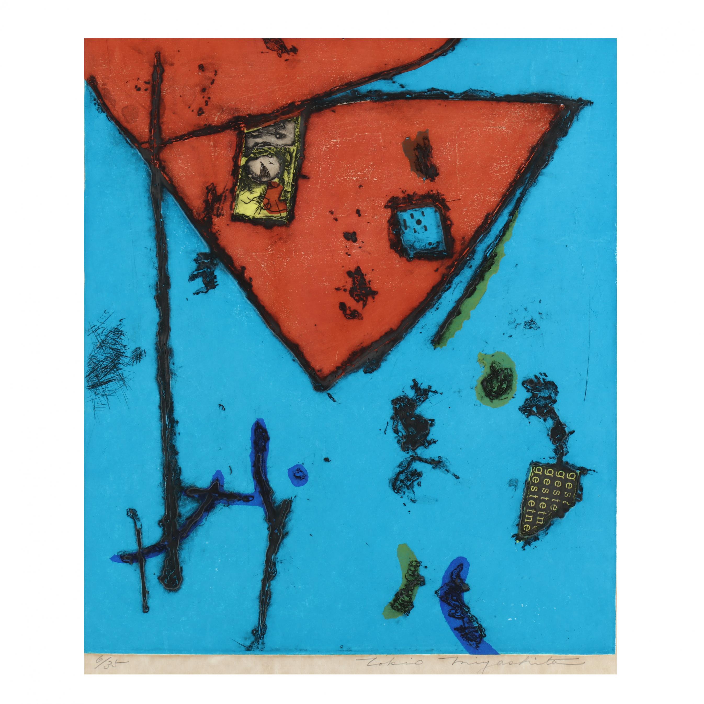 tokio-miyashita-japanese-1930-2011-blue-abstract-mixed-media-print