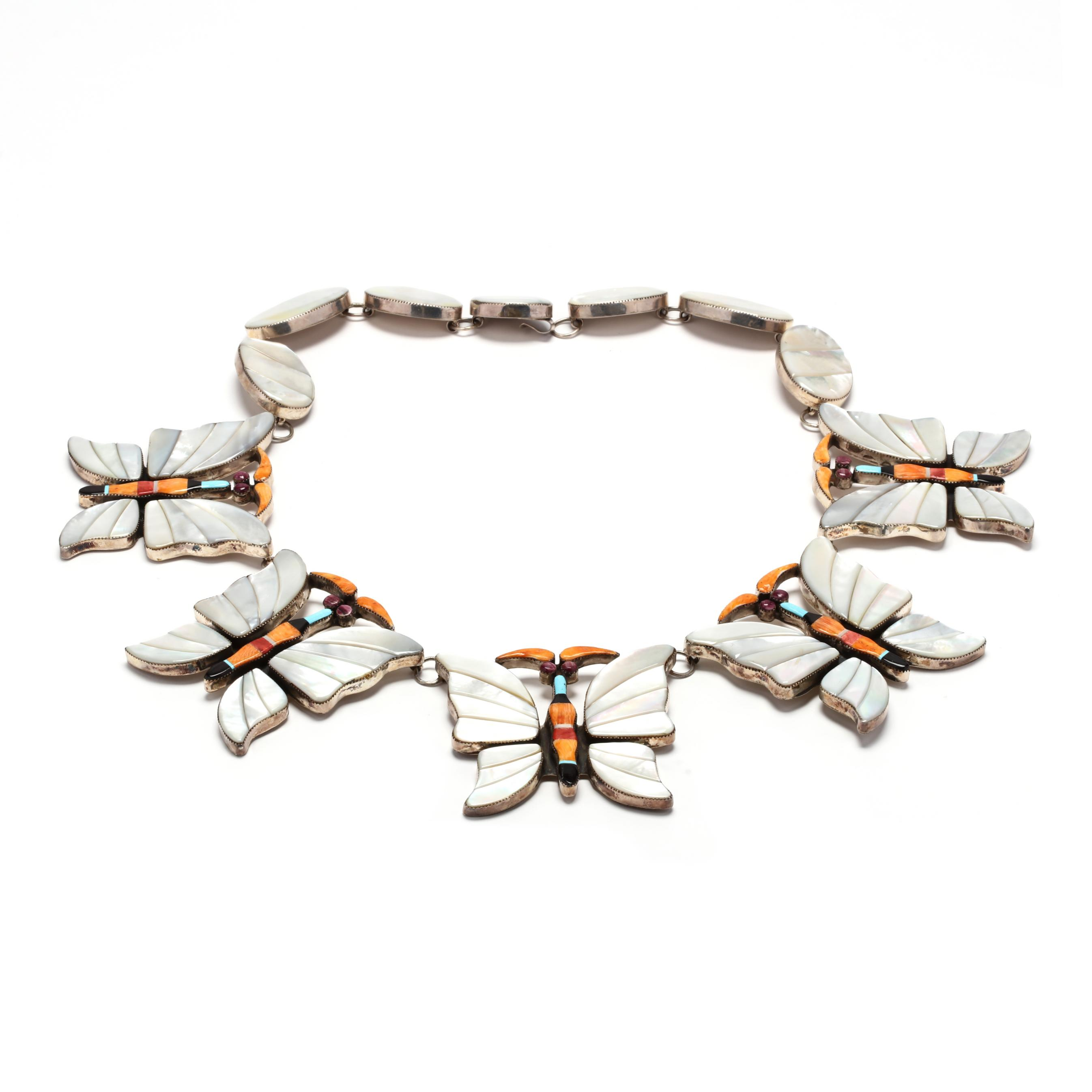 southwestern-sterling-silver-and-inlaid-butterfly-motif-necklace-signed