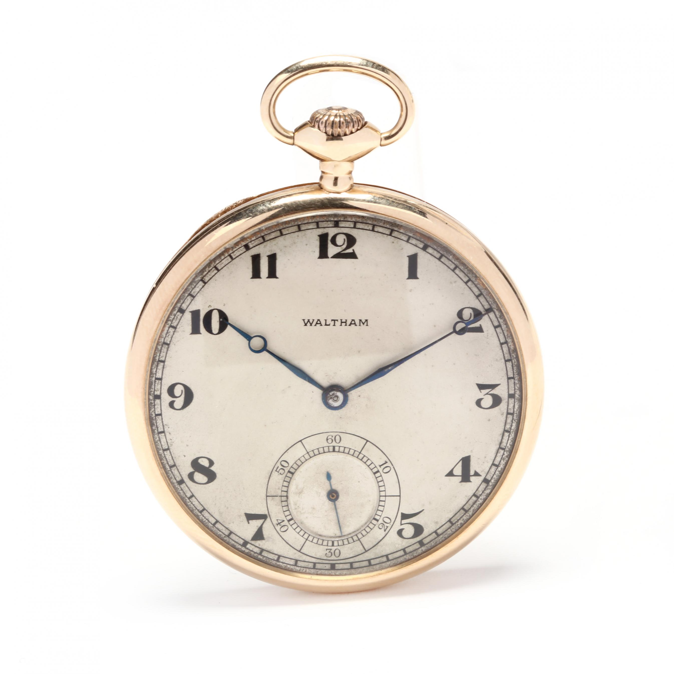 antique-14kt-gold-open-face-pocket-watch-waltham