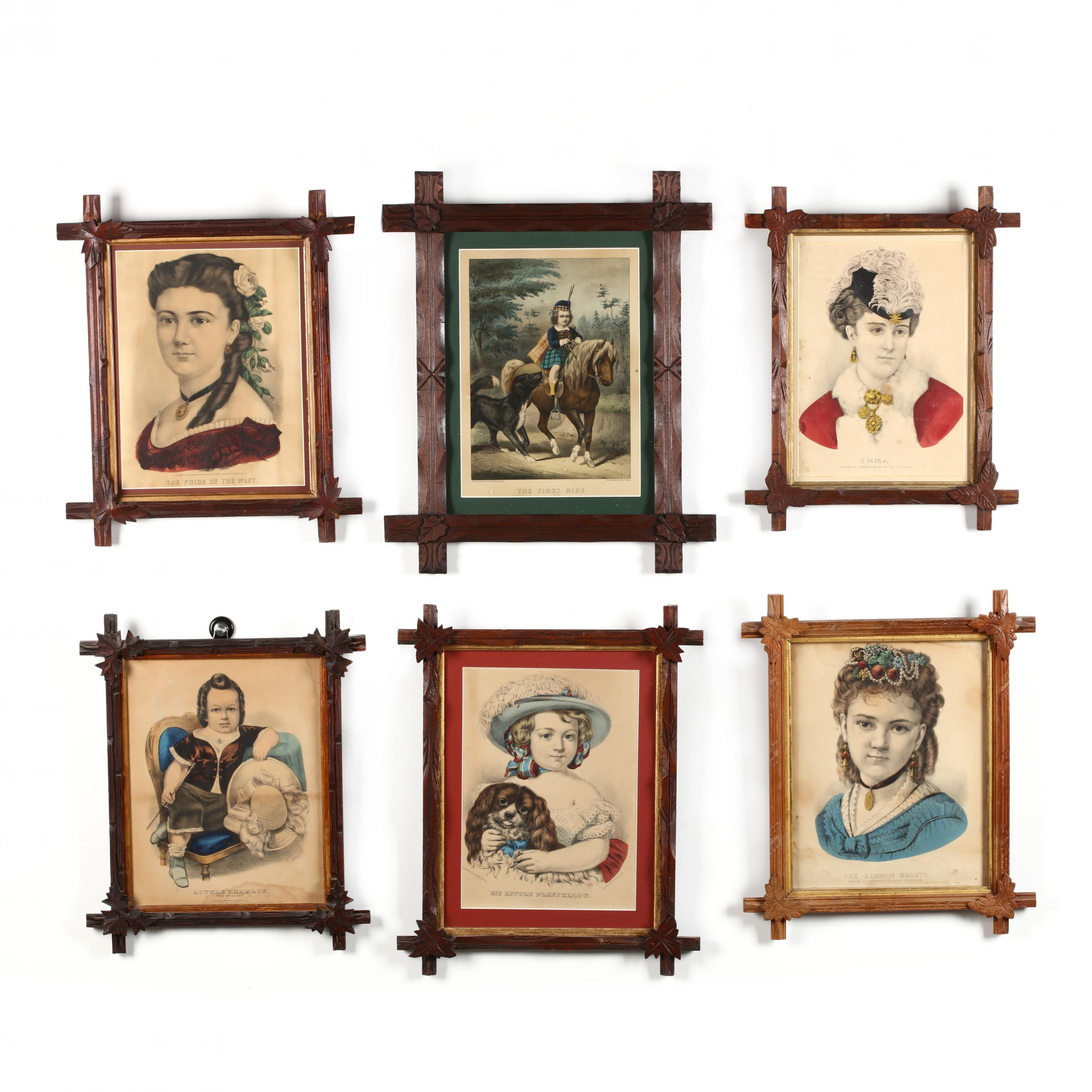six-currier-ives-portrait-prints-in-antique-framing