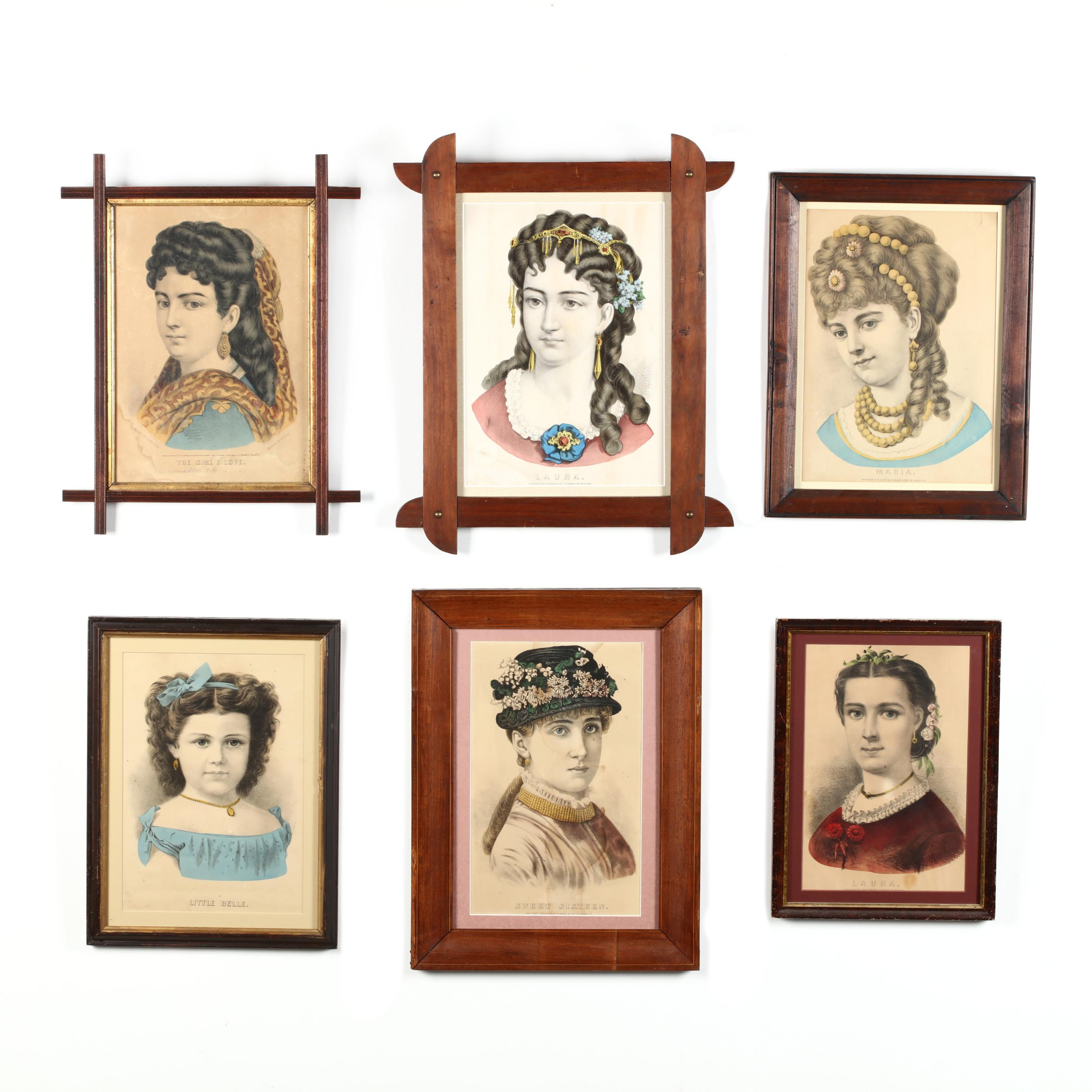 six-currier-ives-female-portrait-prints