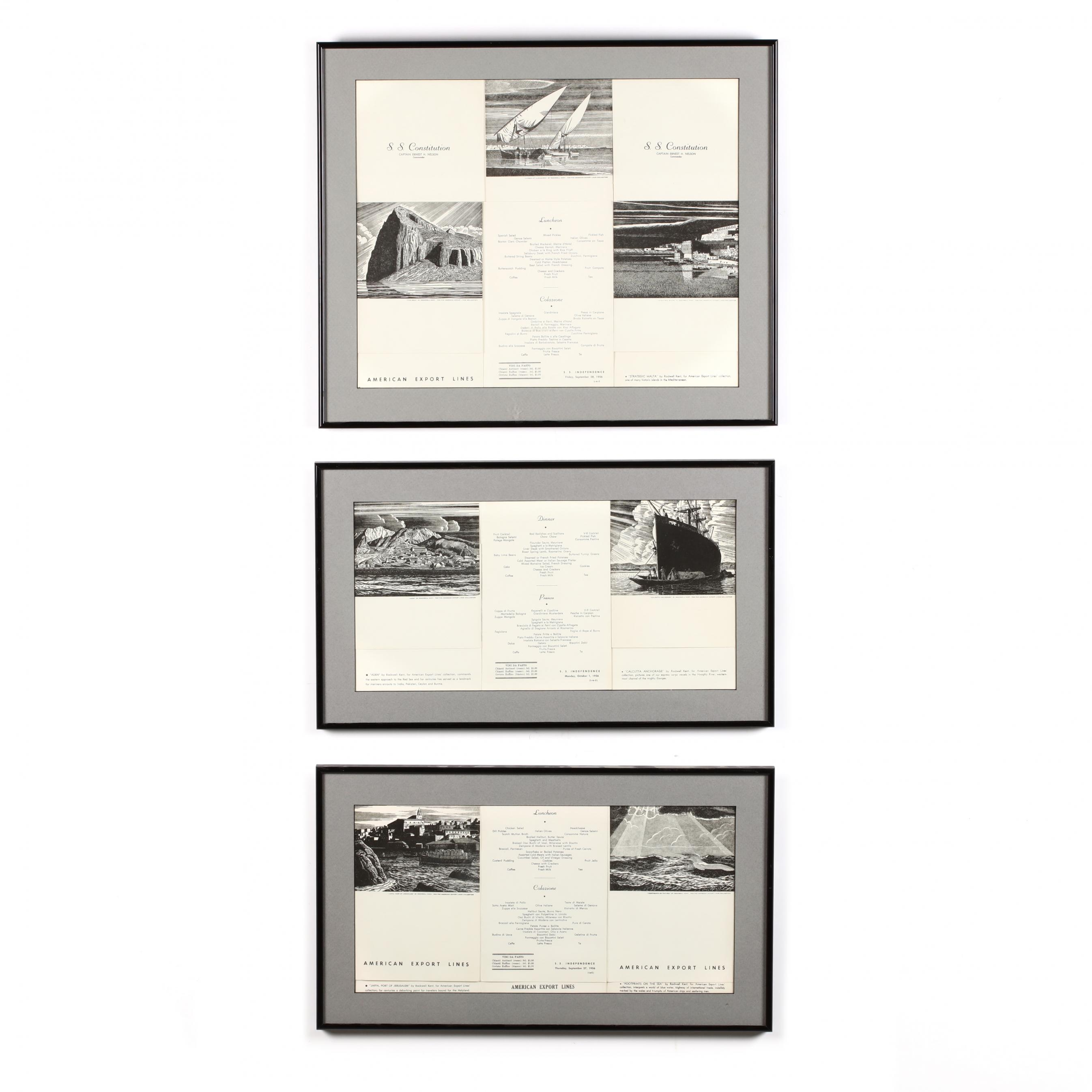 three-framed-menus-for-cruise-lines-1956-illustrated-by-rockwell-kent