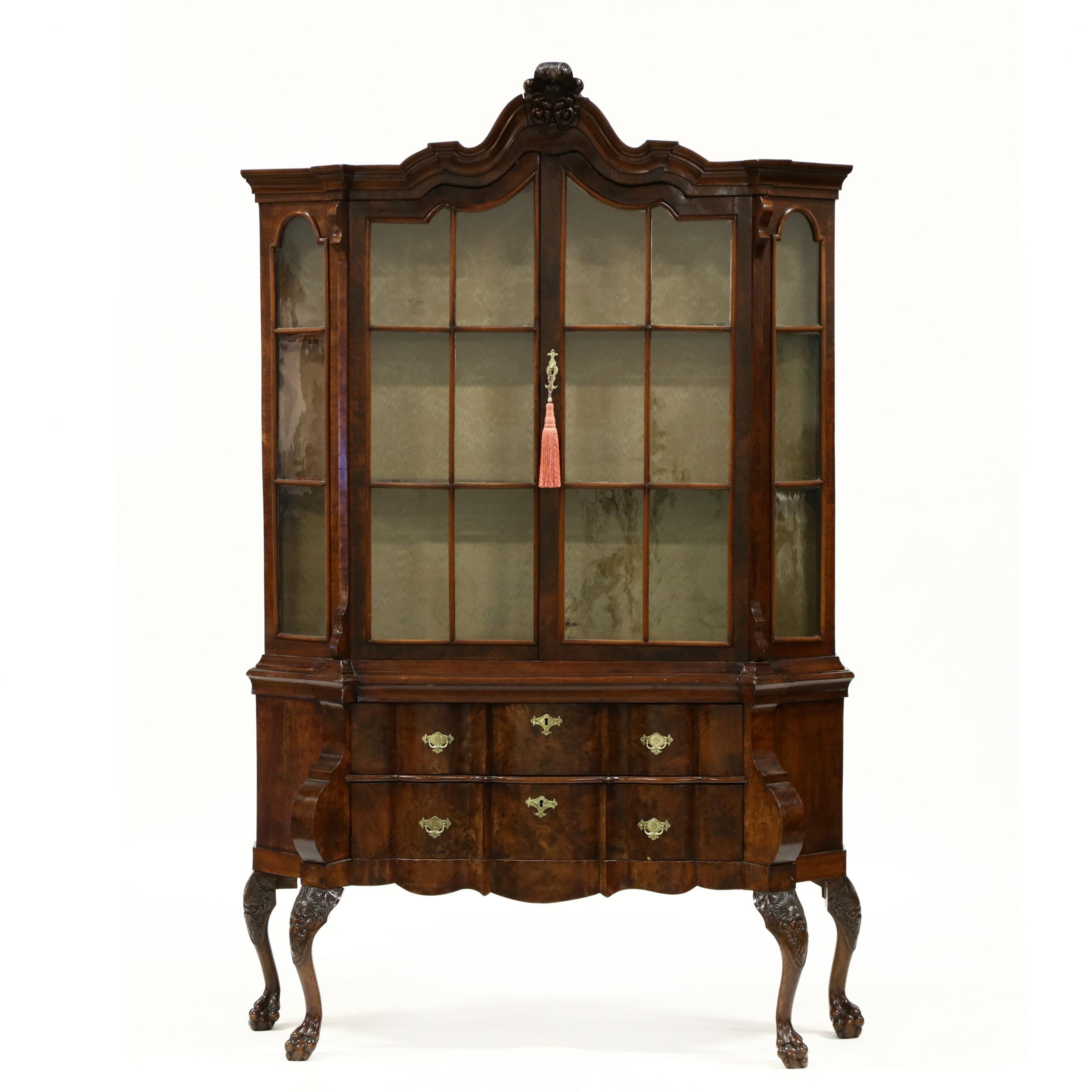 antique-baroque-style-burlwood-china-cabinet