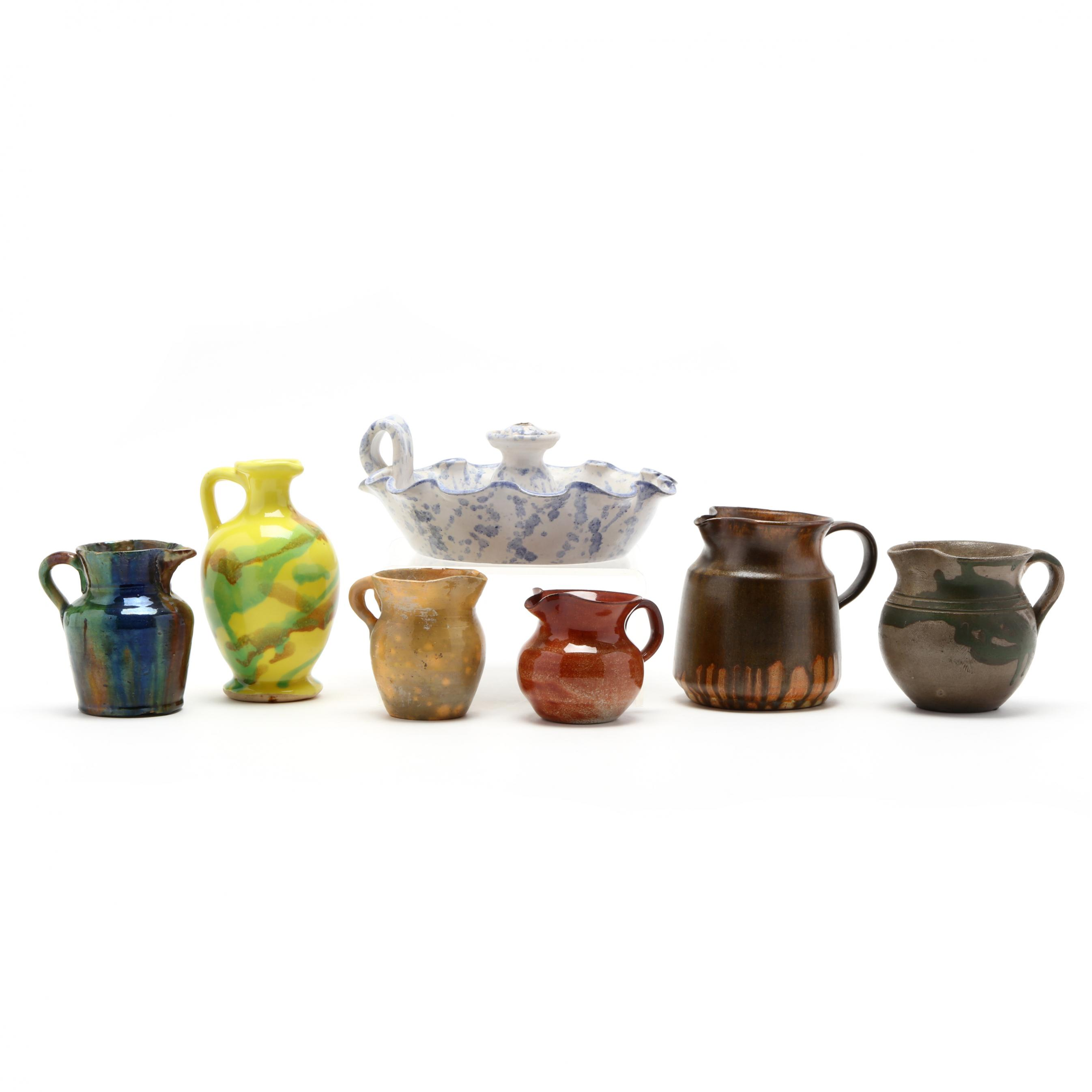 nc-pottery-grouping-of-seven