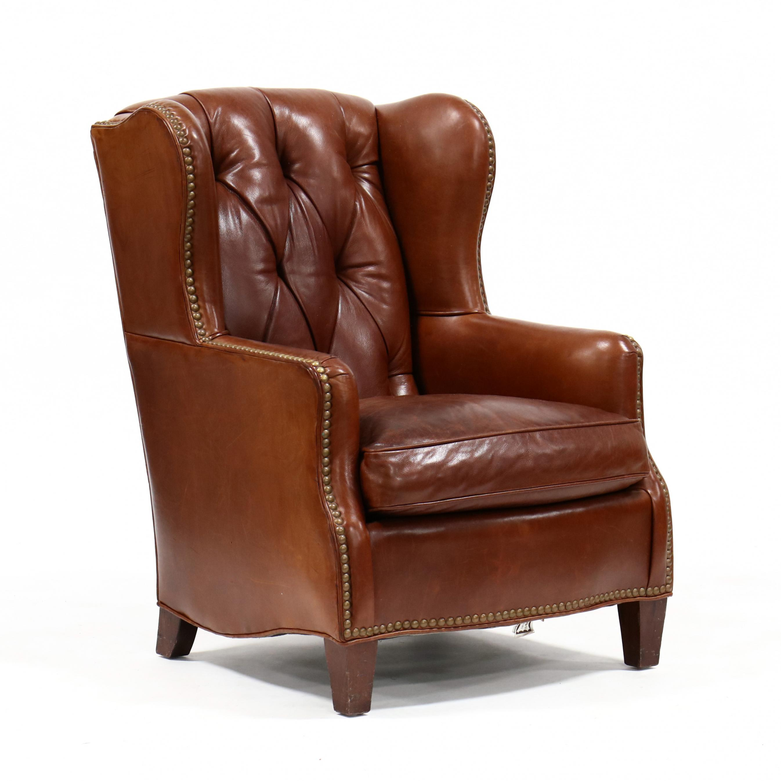 classic-leather-upholstered-wing-back-club-chair