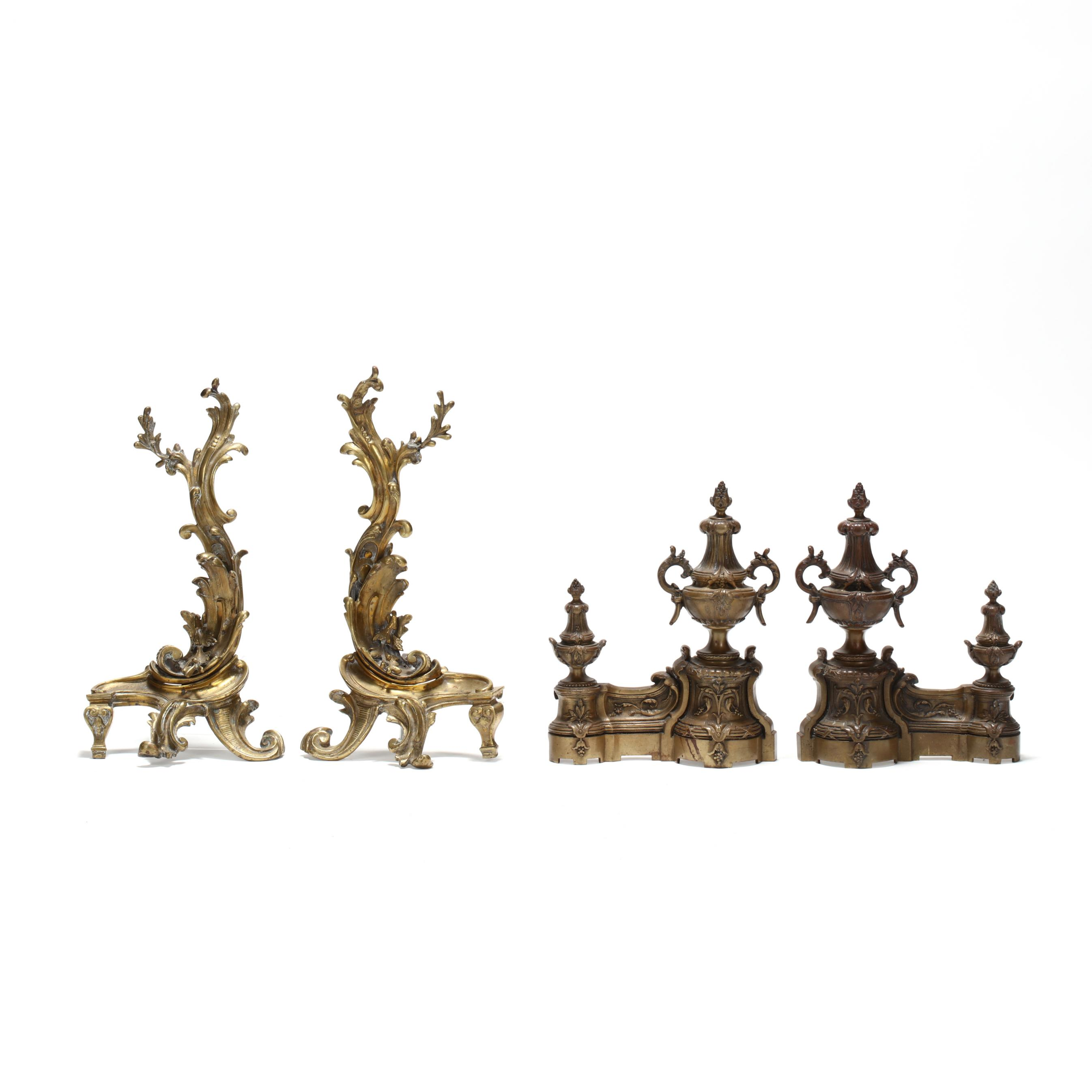 two-pair-of-antique-brass-chenets