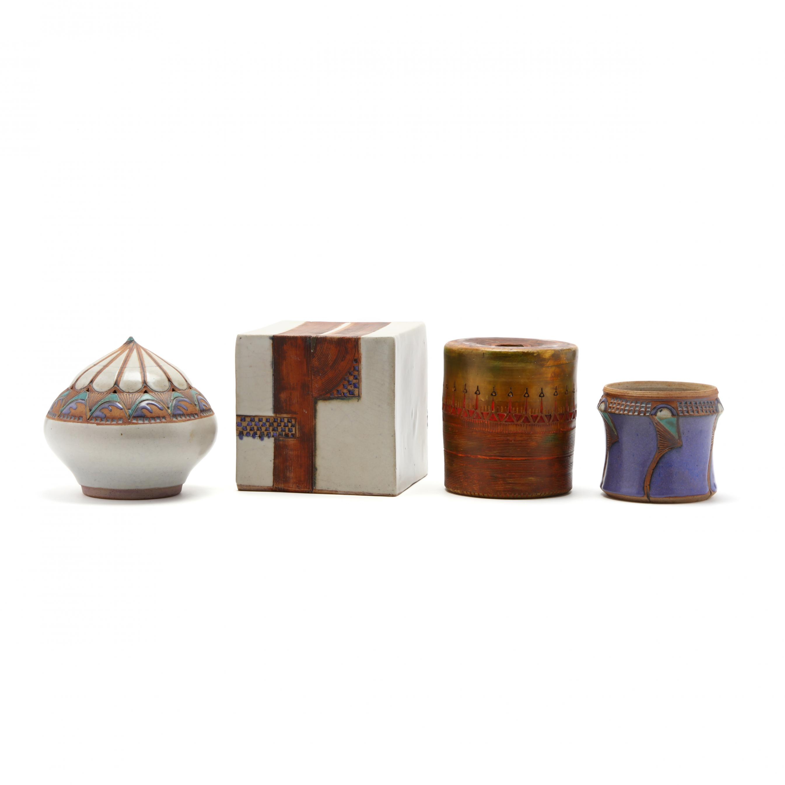 elaine-reed-nc-a-group-of-four-porcelain-art-pottery
