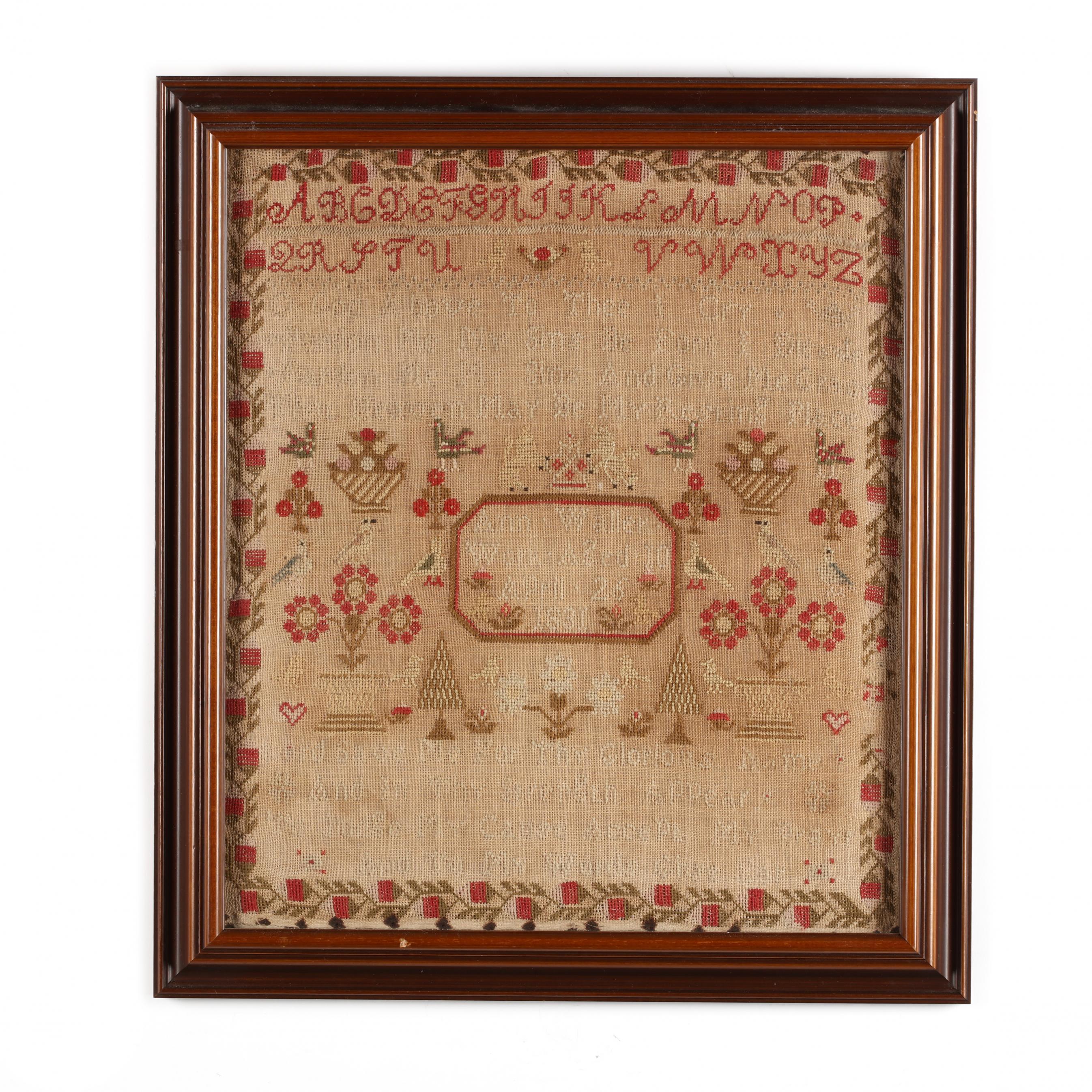 antique-framed-needlework-sampler-english