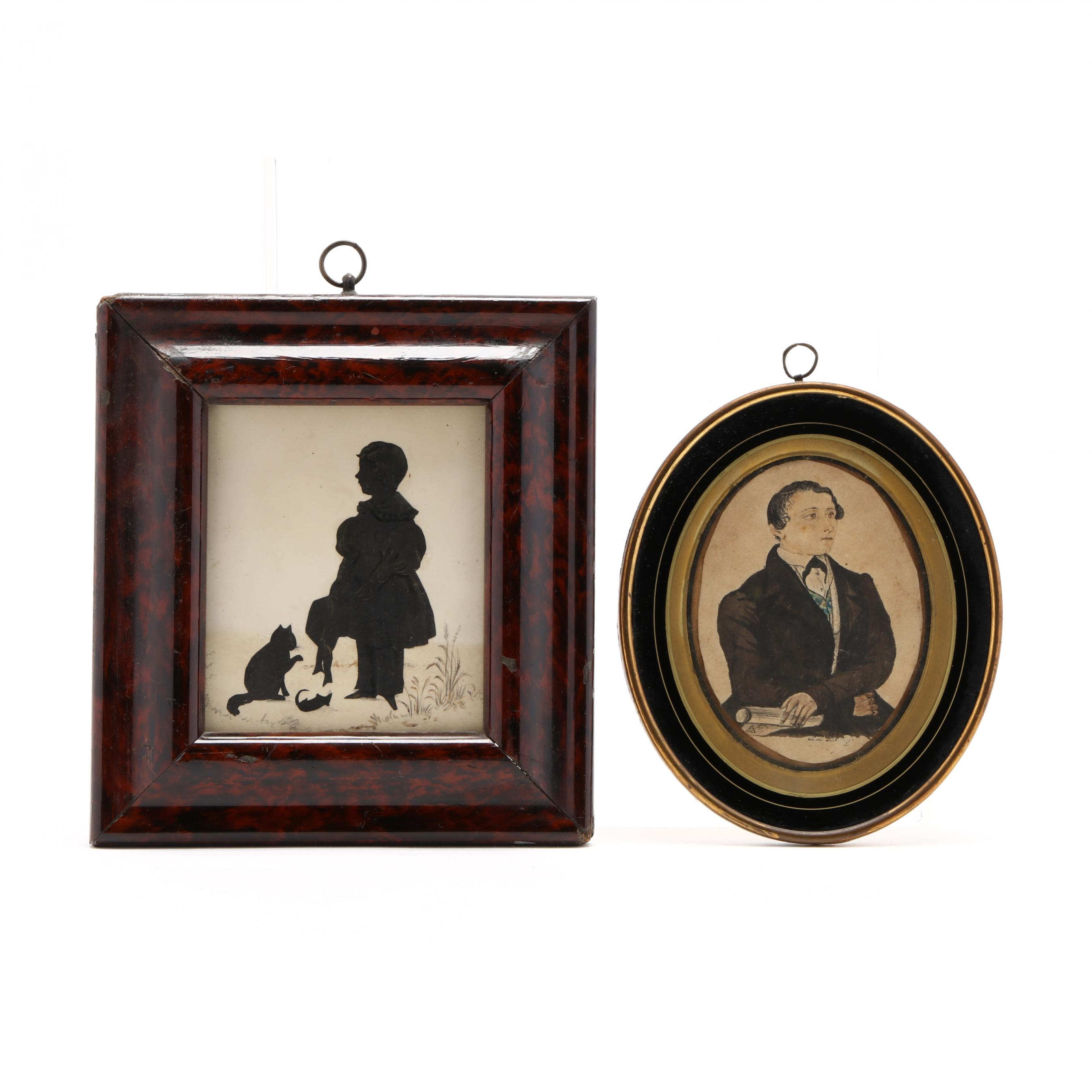 two-antique-pictorial-items