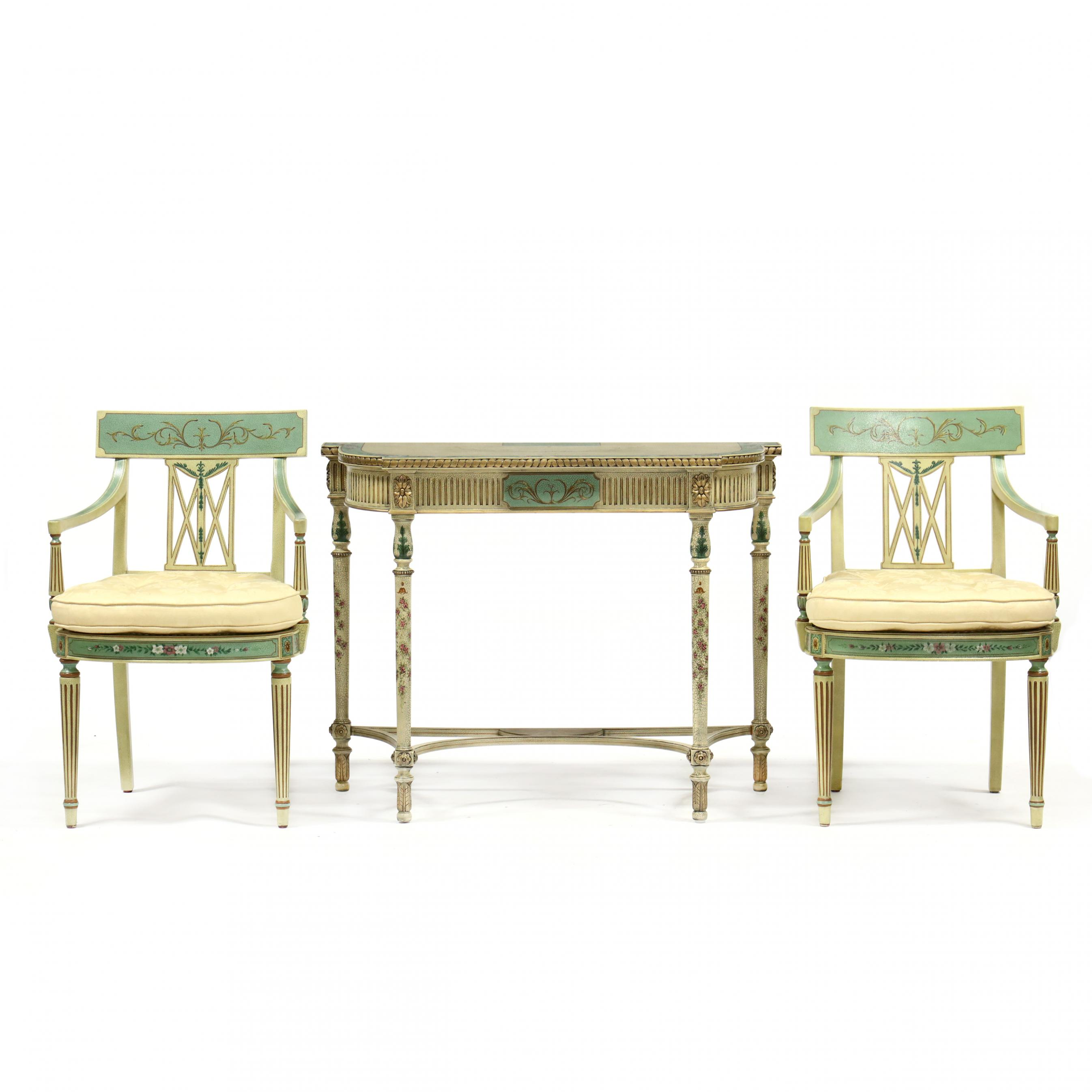 maitland-smith-adam-style-painted-console-and-two-chairs