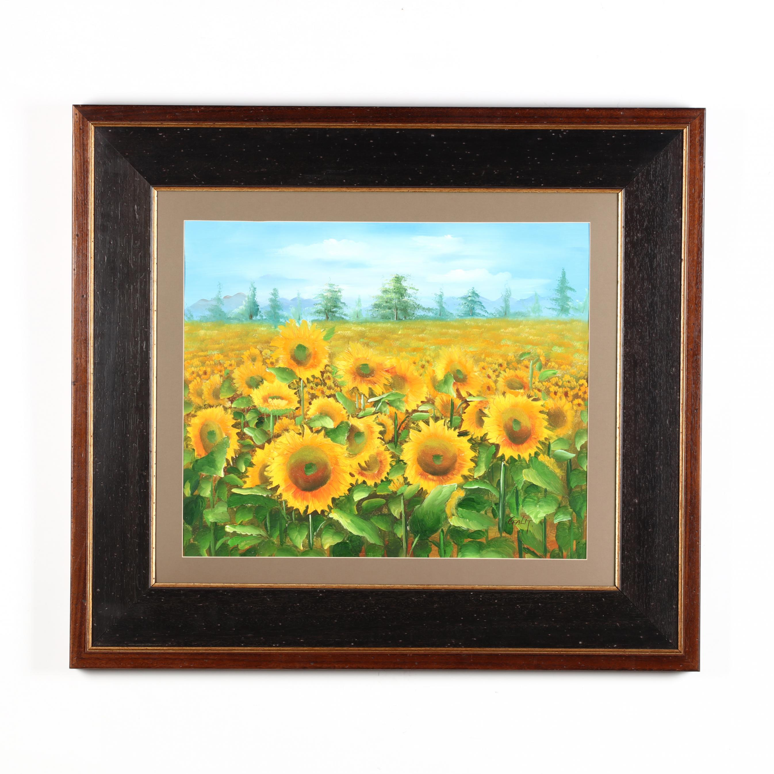 framed-landscape-with-sunflowers