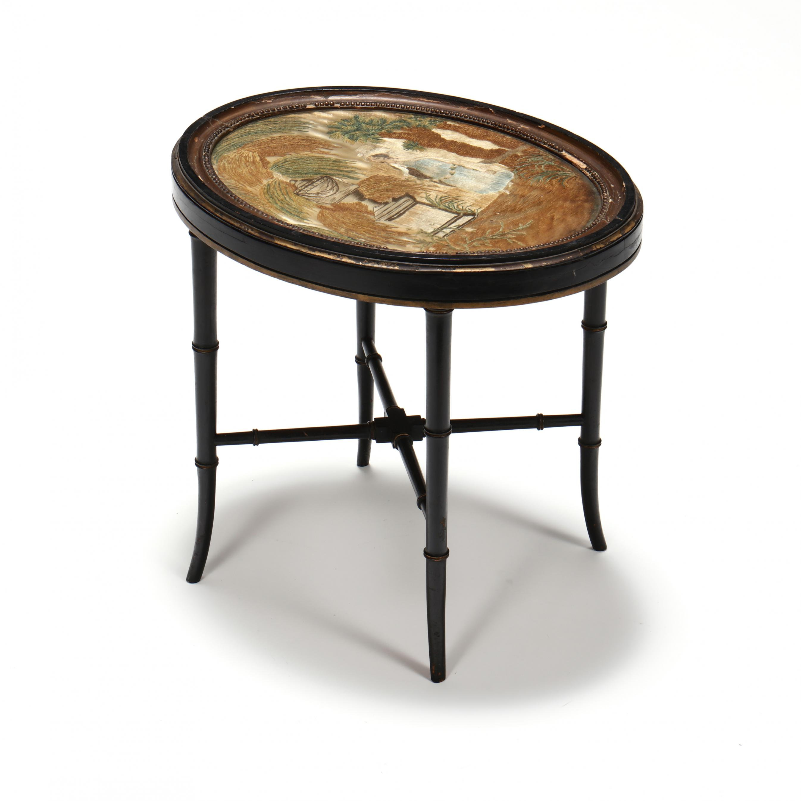 vintage-faux-bamboo-stand-with-antique-silk-mourning-embroidery-top