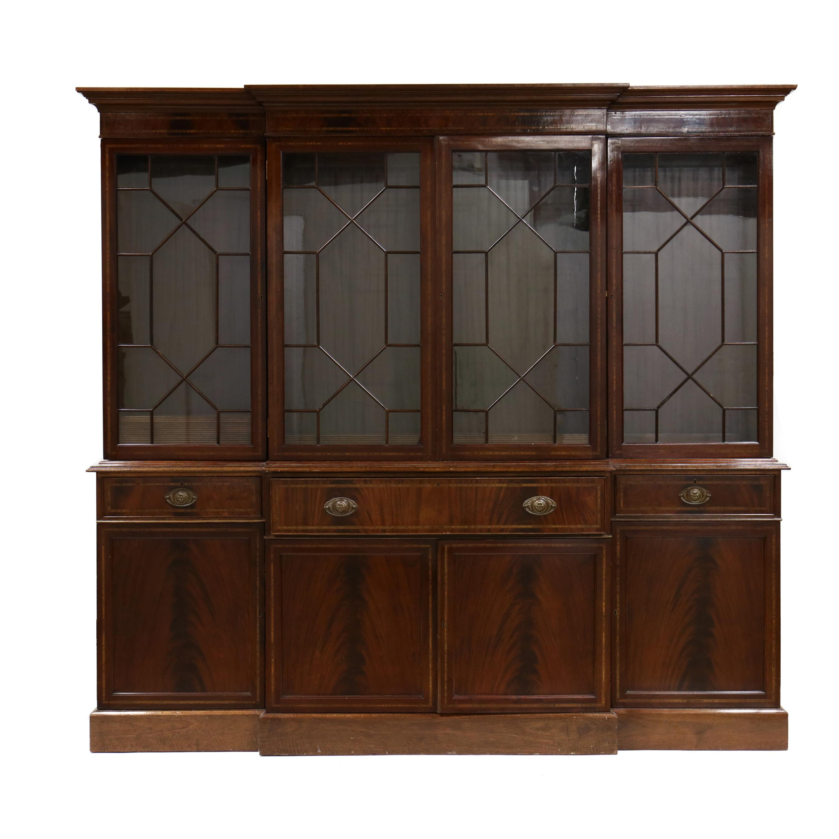 georgian-style-inlaid-mahogany-breakfront