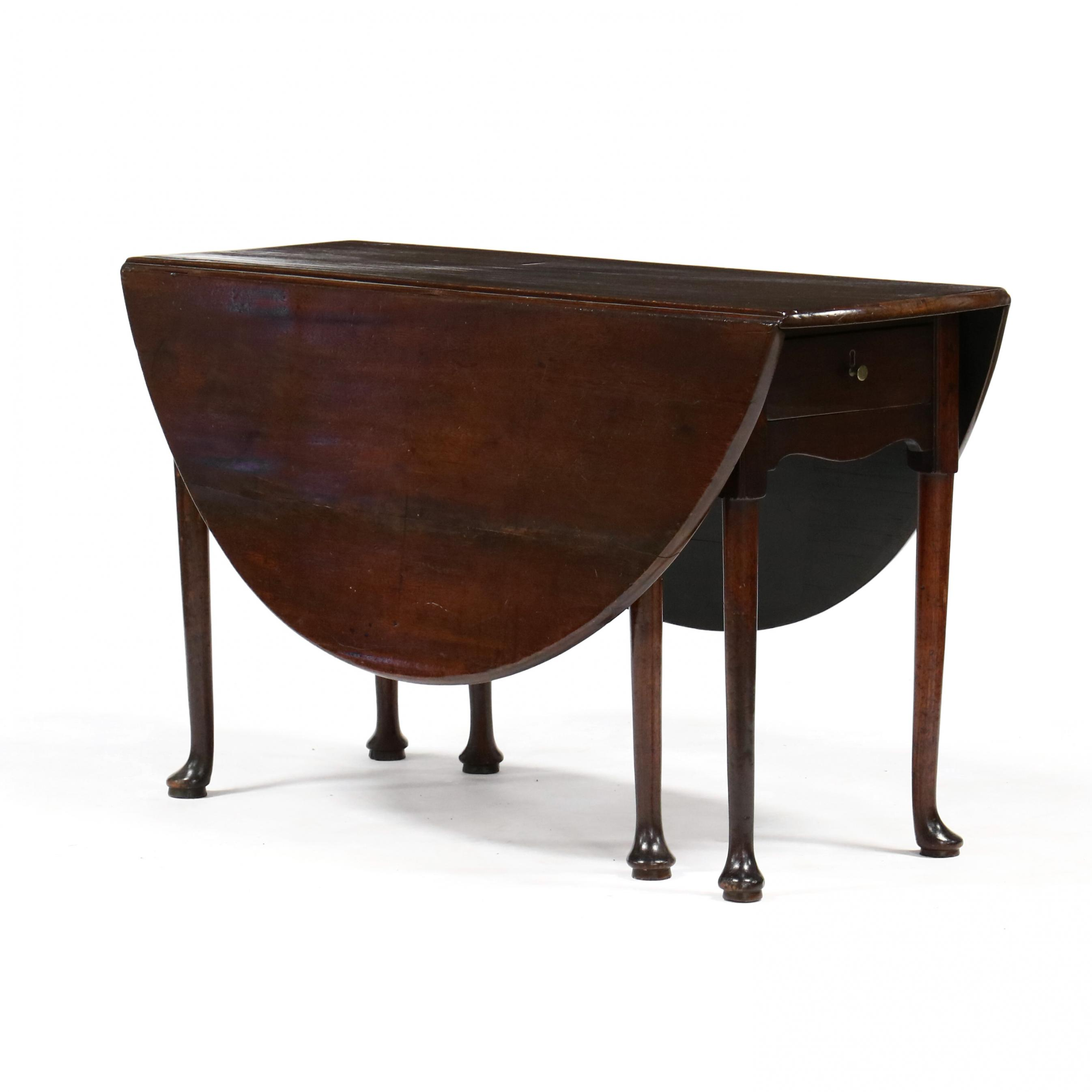 southern-queen-anne-mahogany-drop-leaf-dining-table