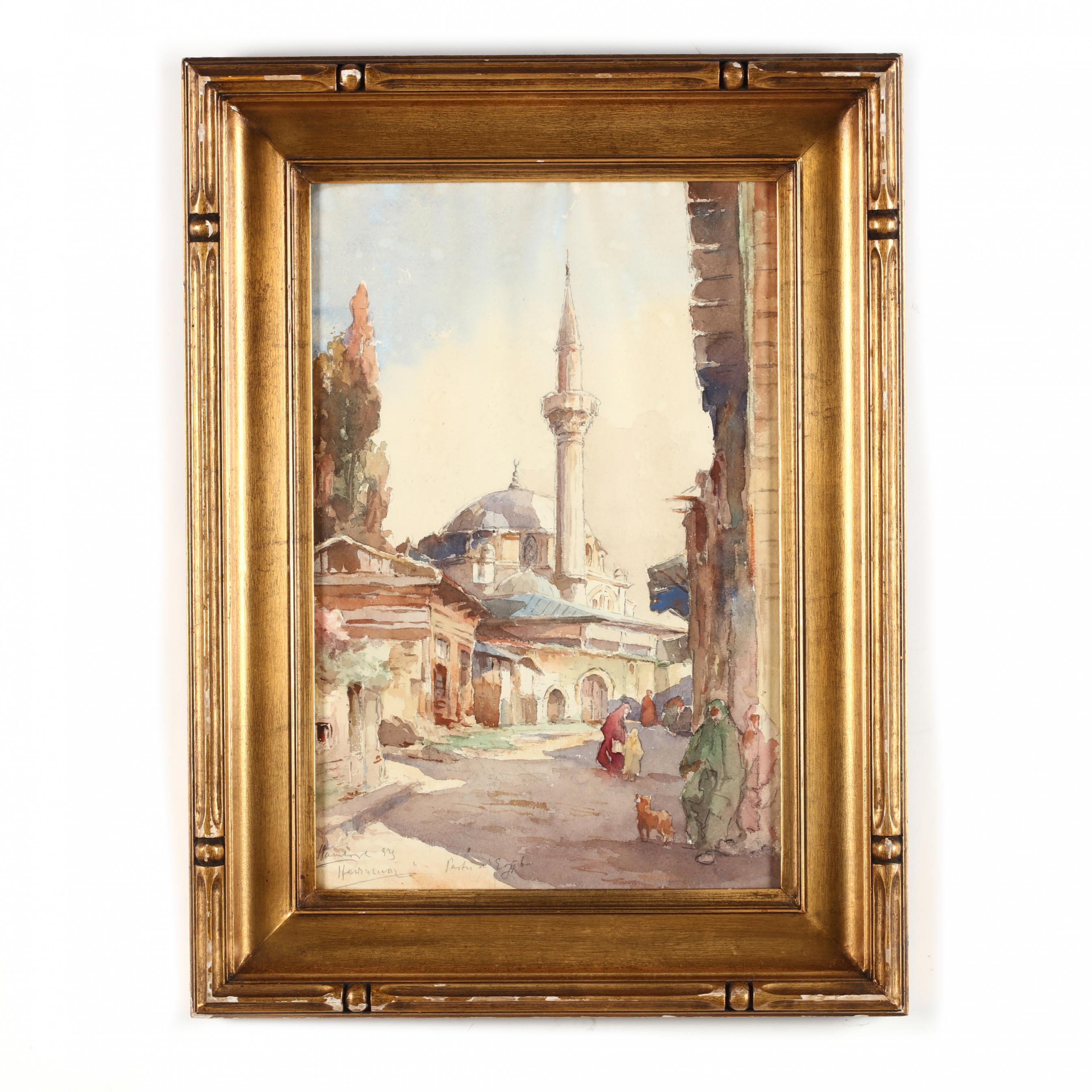 an-antique-orientalist-watercolor-painting-of-an-egyptian-mosque