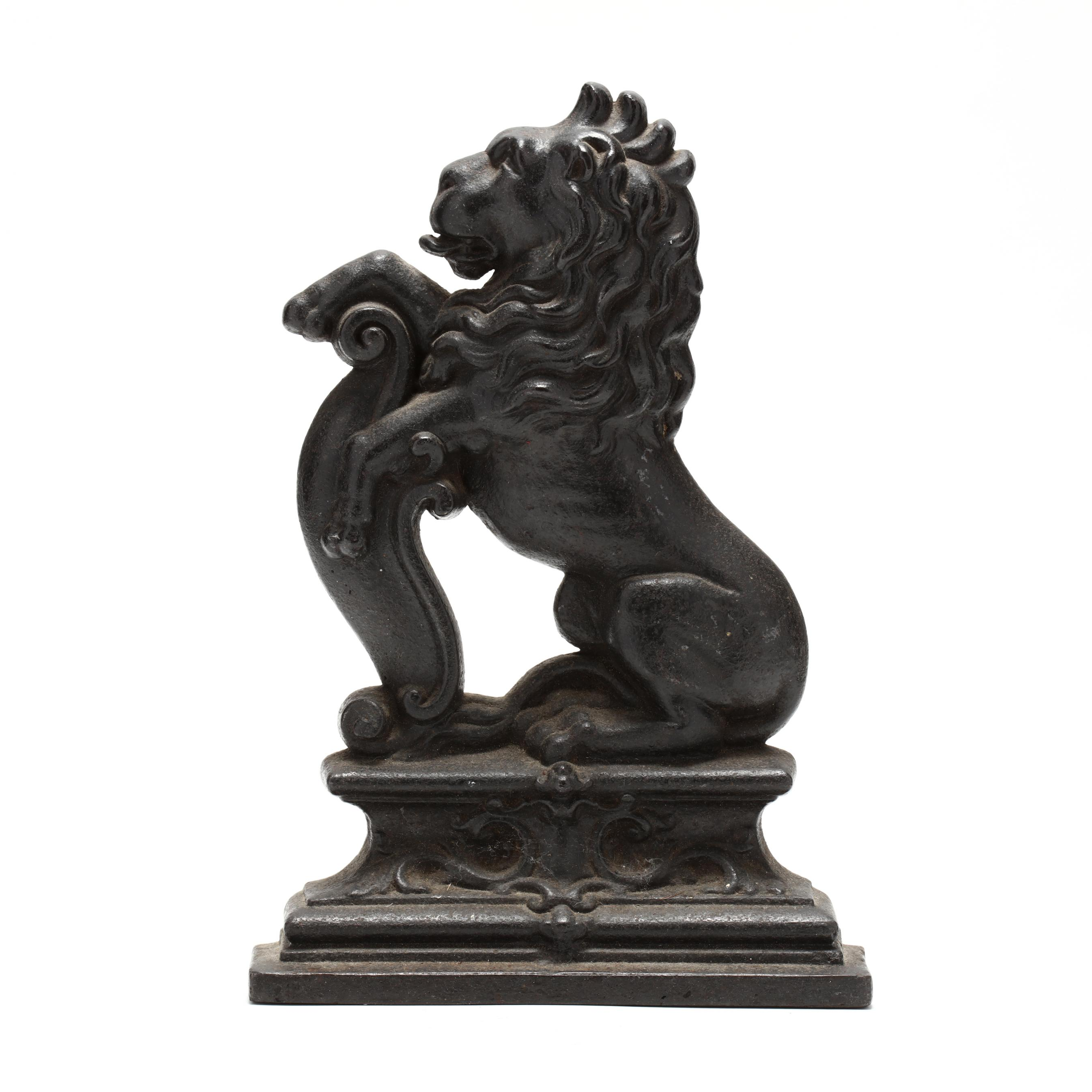 antique-iron-rampant-lion-doorstop