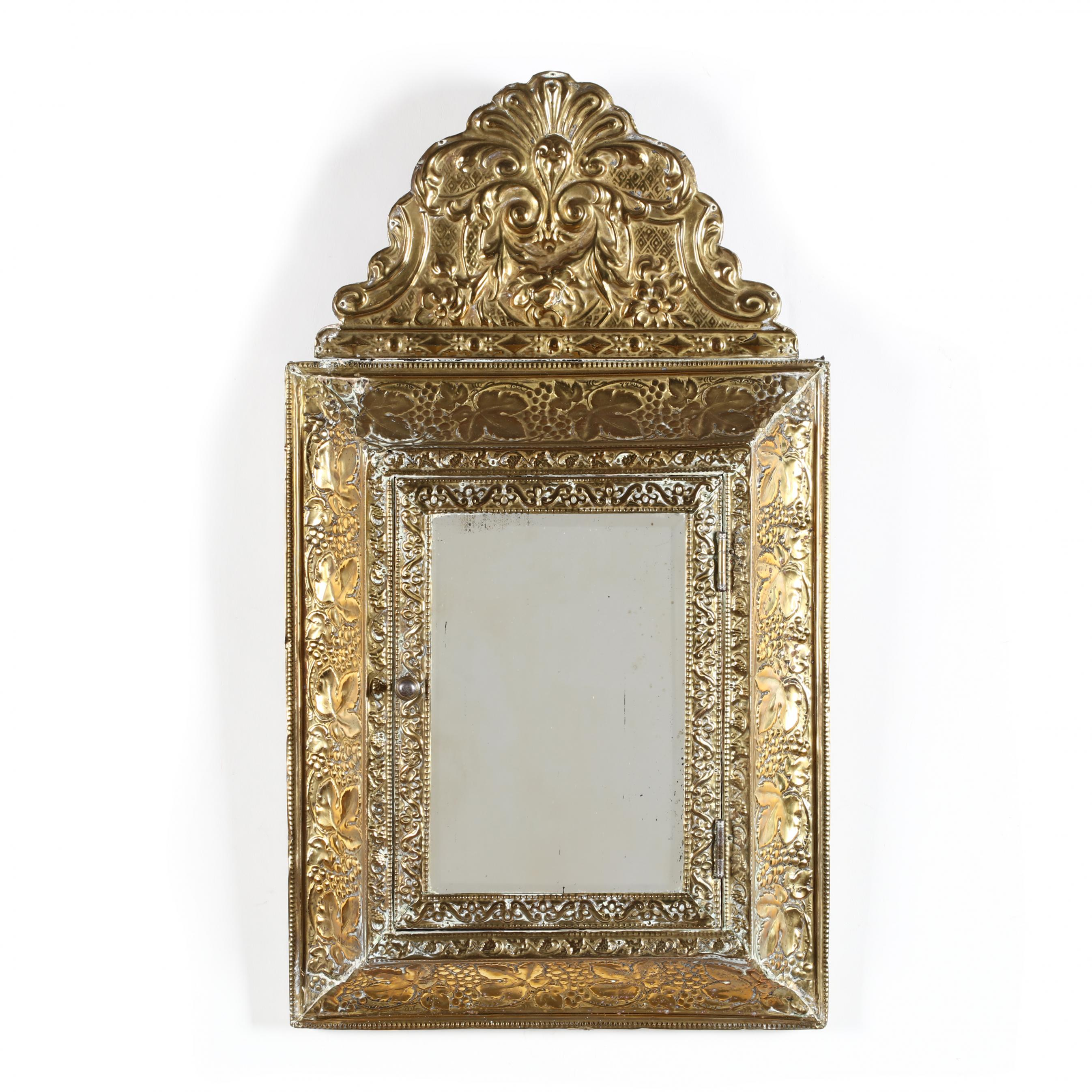 continental-repousse-brass-mirrored-cabinet