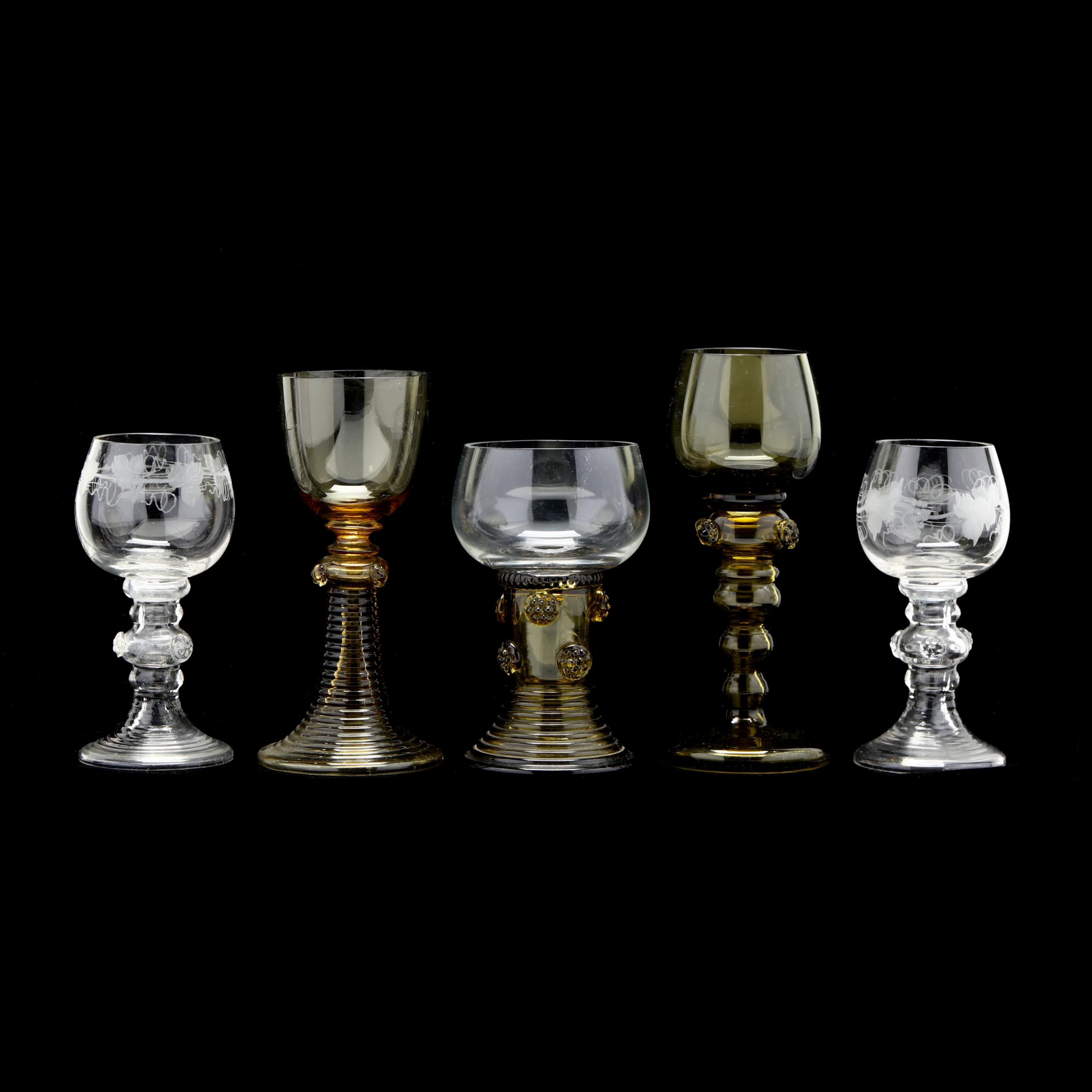 five-antique-german-roemer-glasses