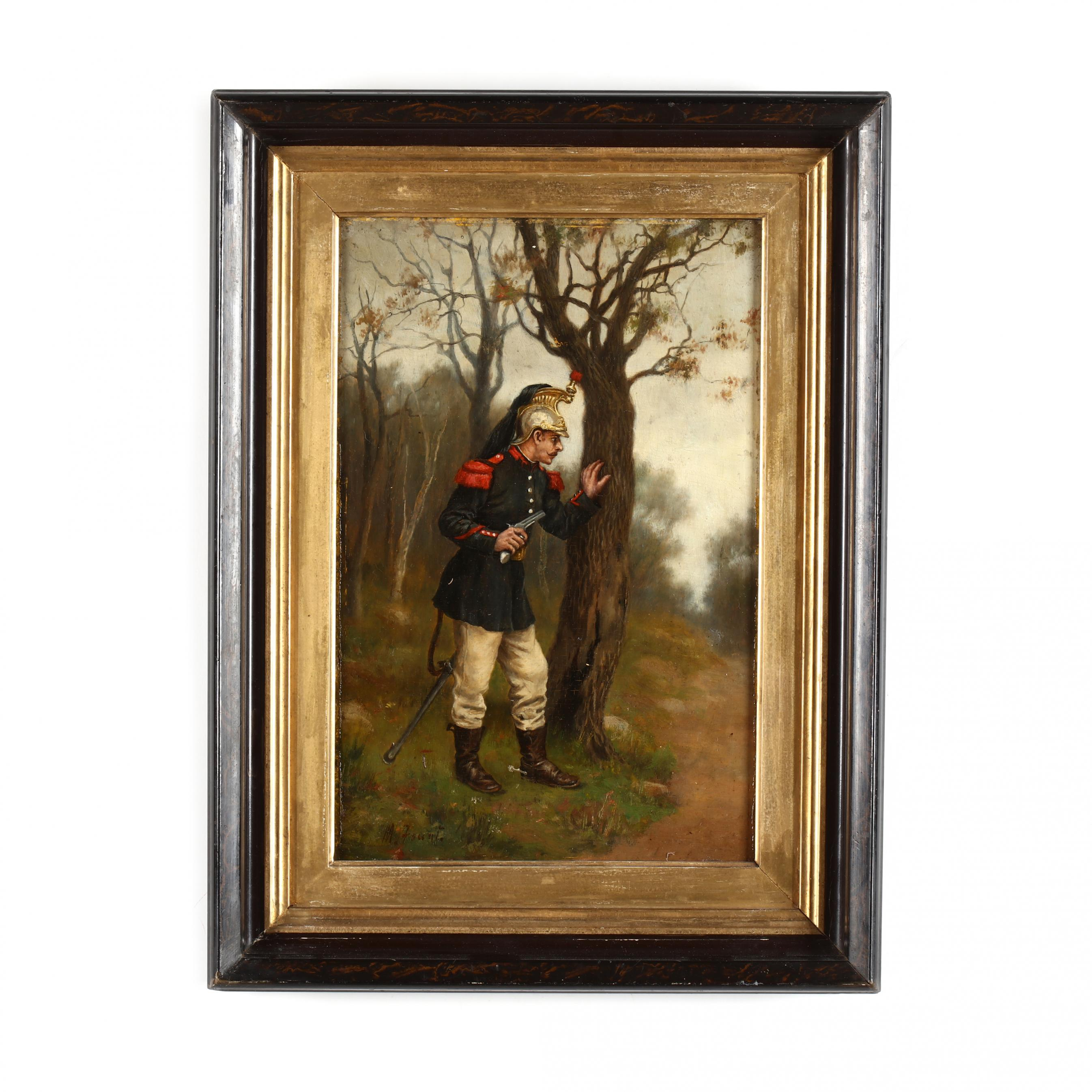an-antique-french-school-painting-of-an-officer