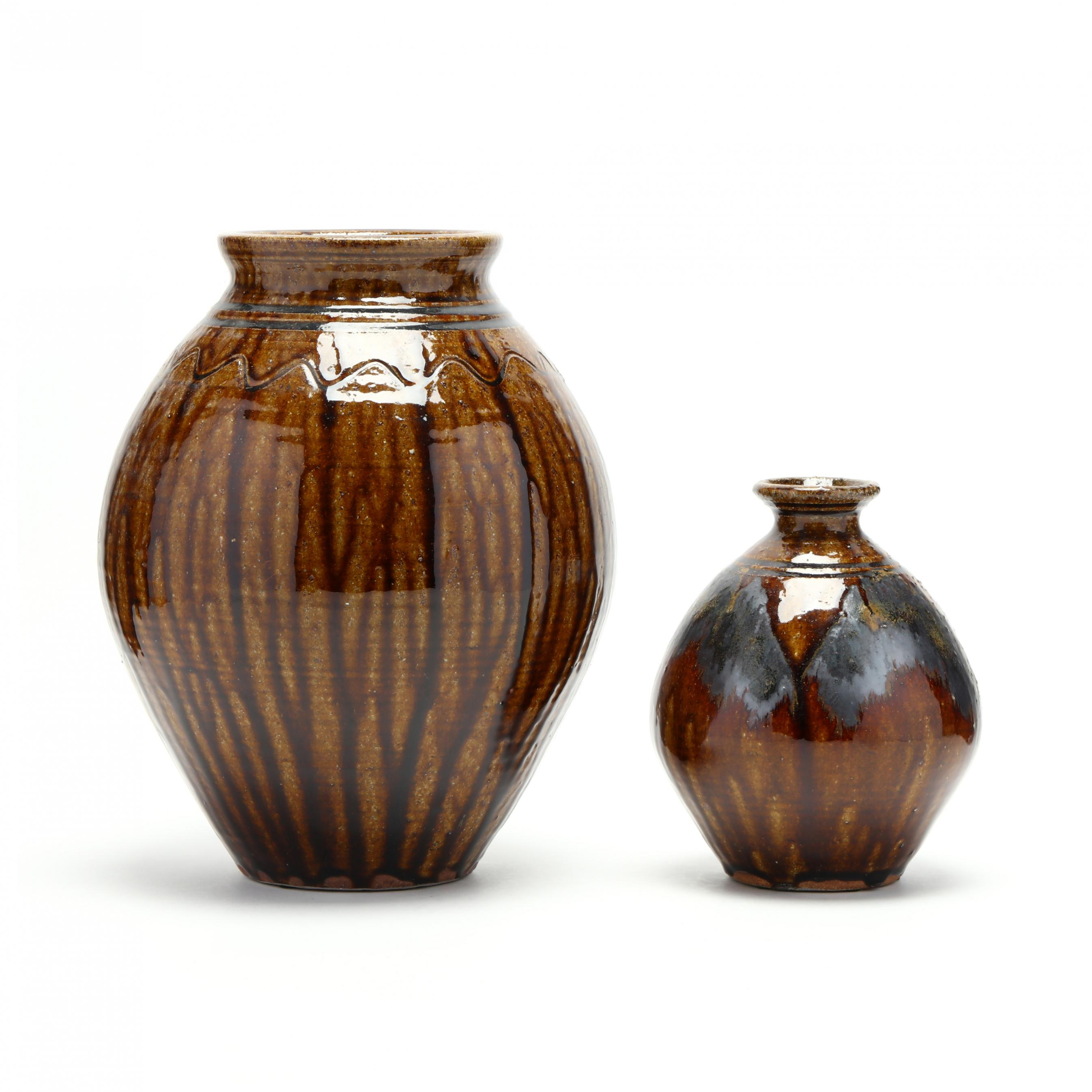 western-nc-kim-ellington-two-alkaline-glazed-vases