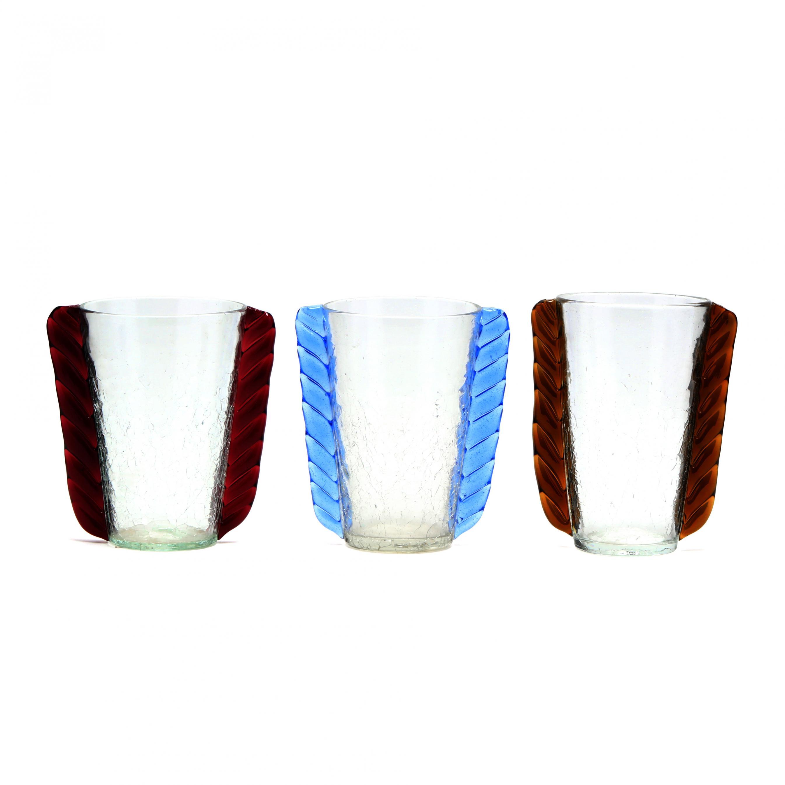blenko-three-crackle-glass-ear-vases