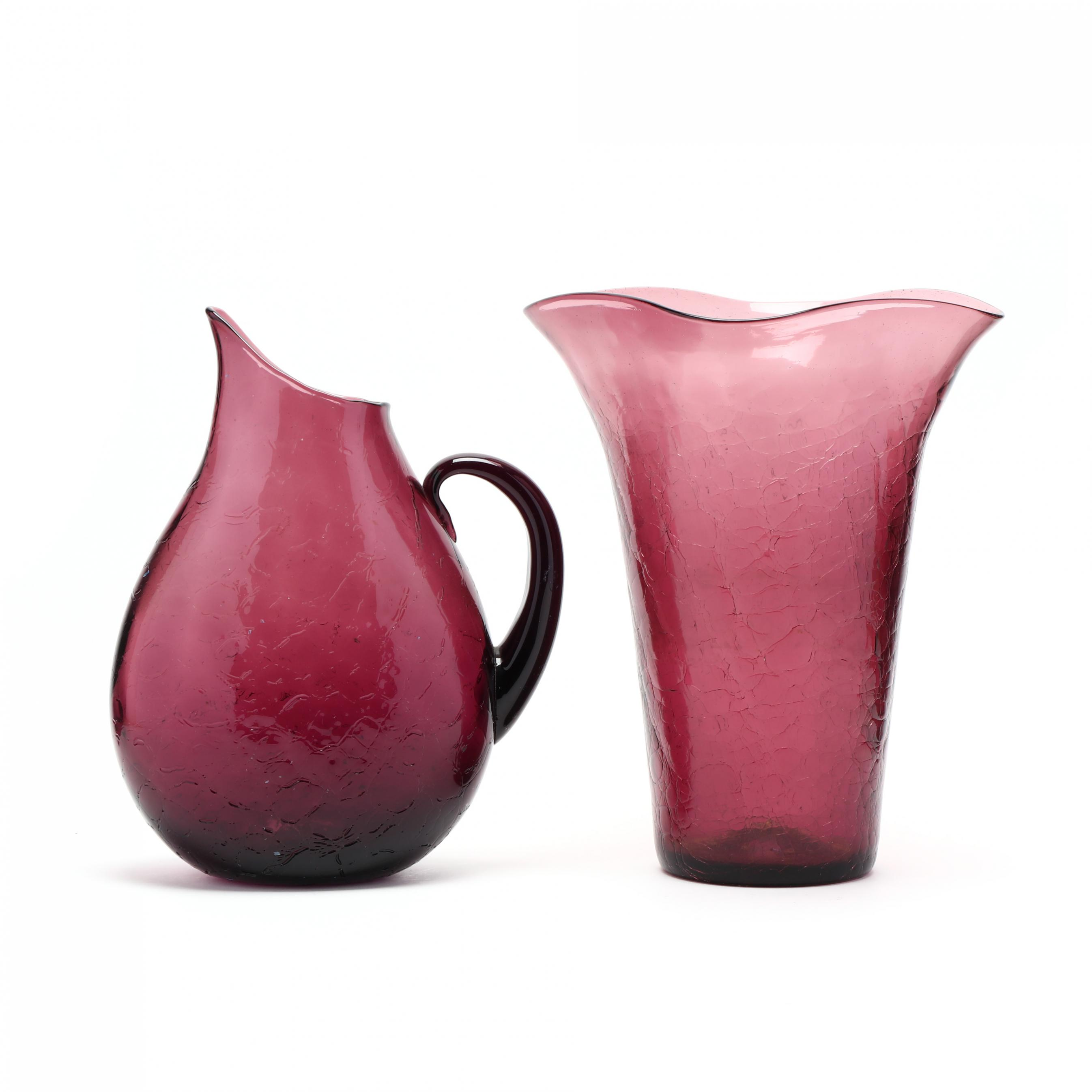 blenko-large-purple-crackle-glass-vase-and-pitcher
