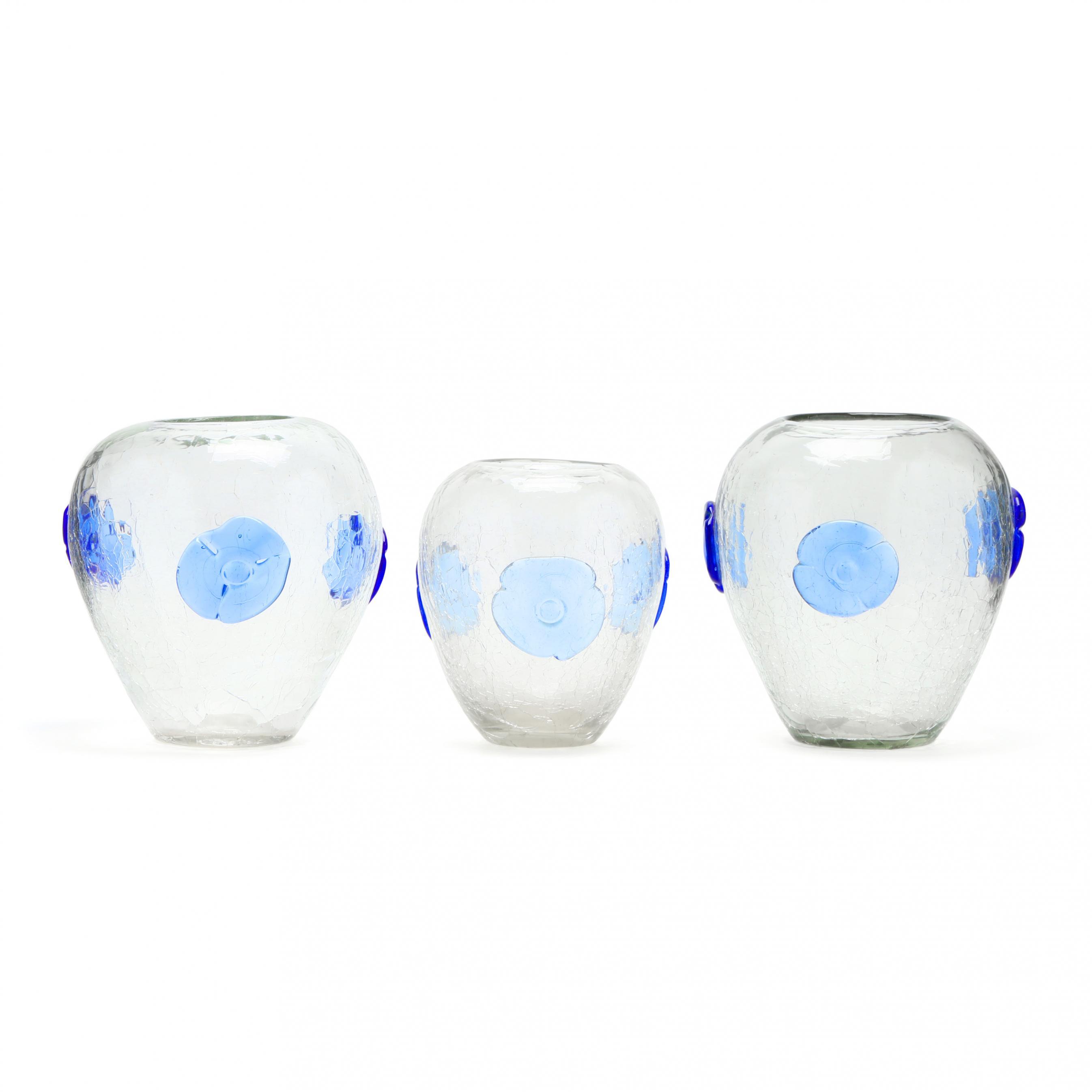 blenko-three-crackle-glass-medallion-vases