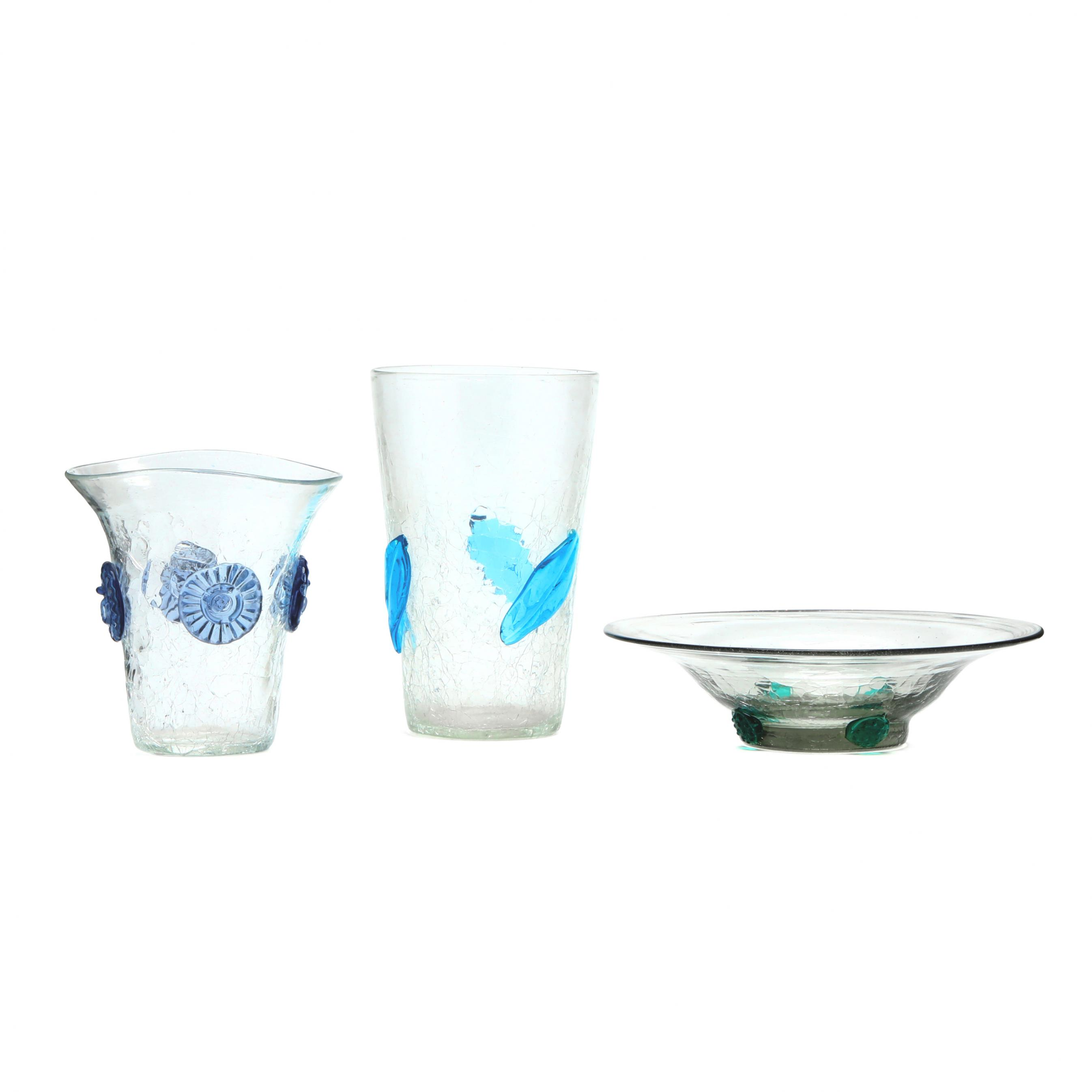 blenko-three-pieces-of-decorated-crackle-glass