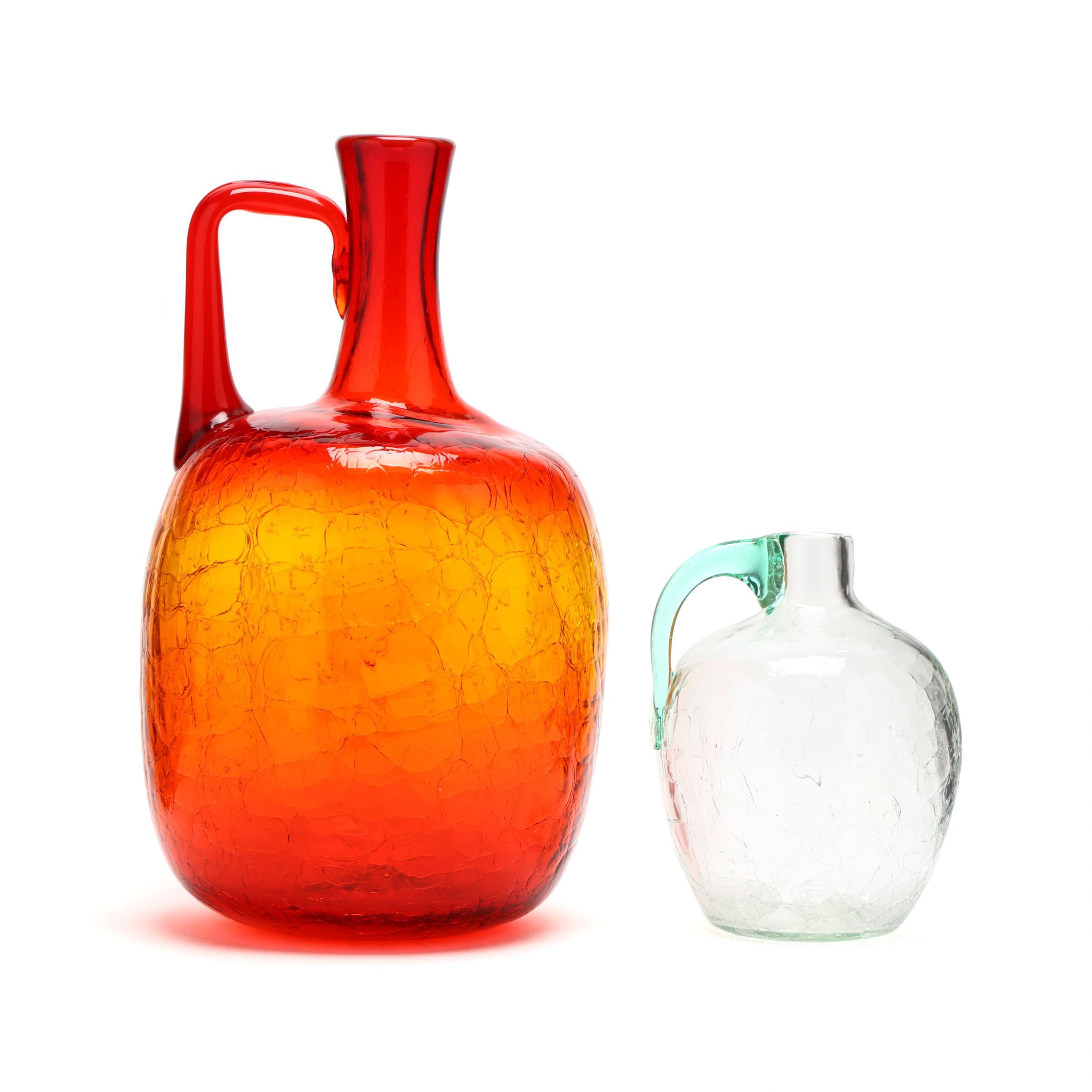blenko-two-crackle-glass-jugs