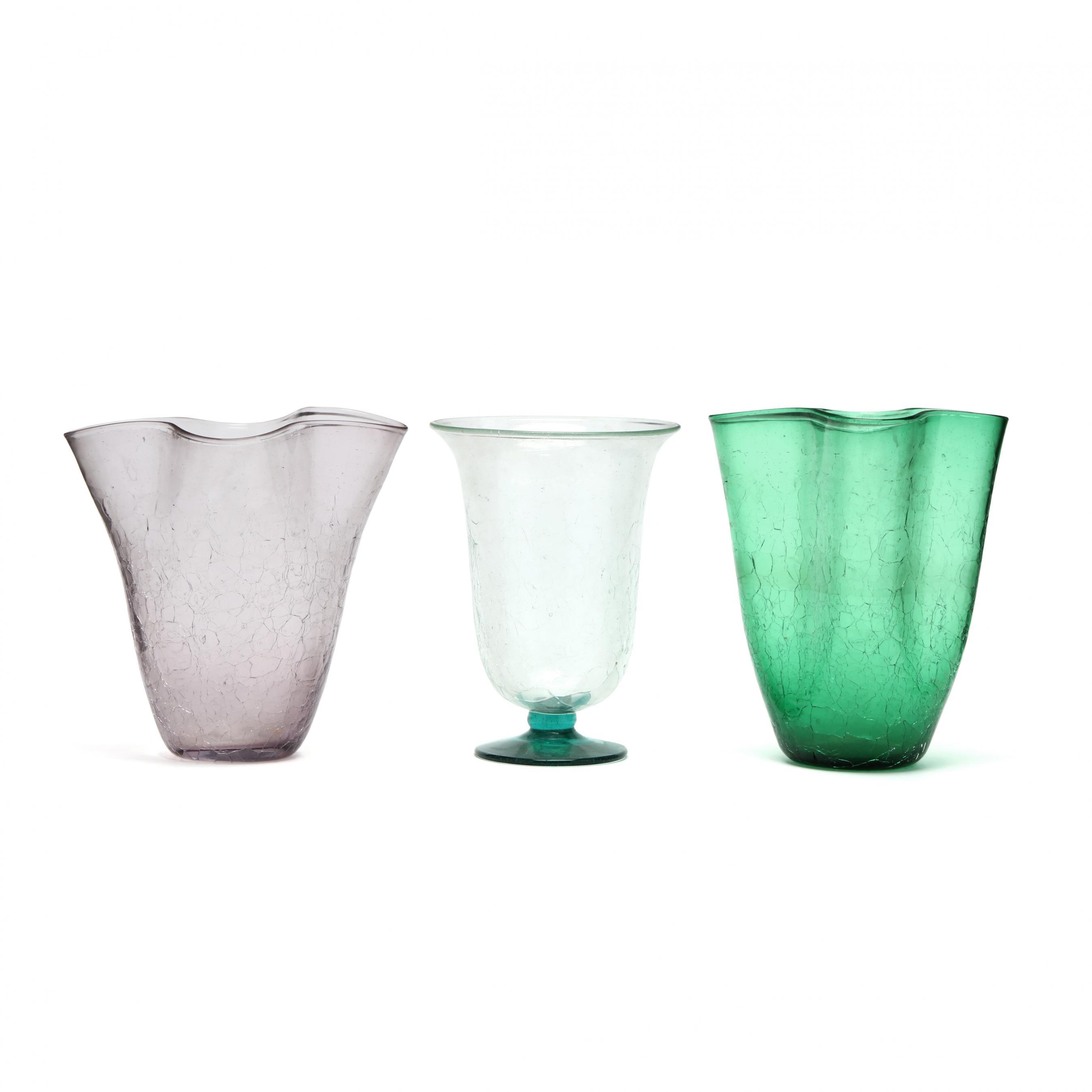 blenko-three-crackle-glass-vases