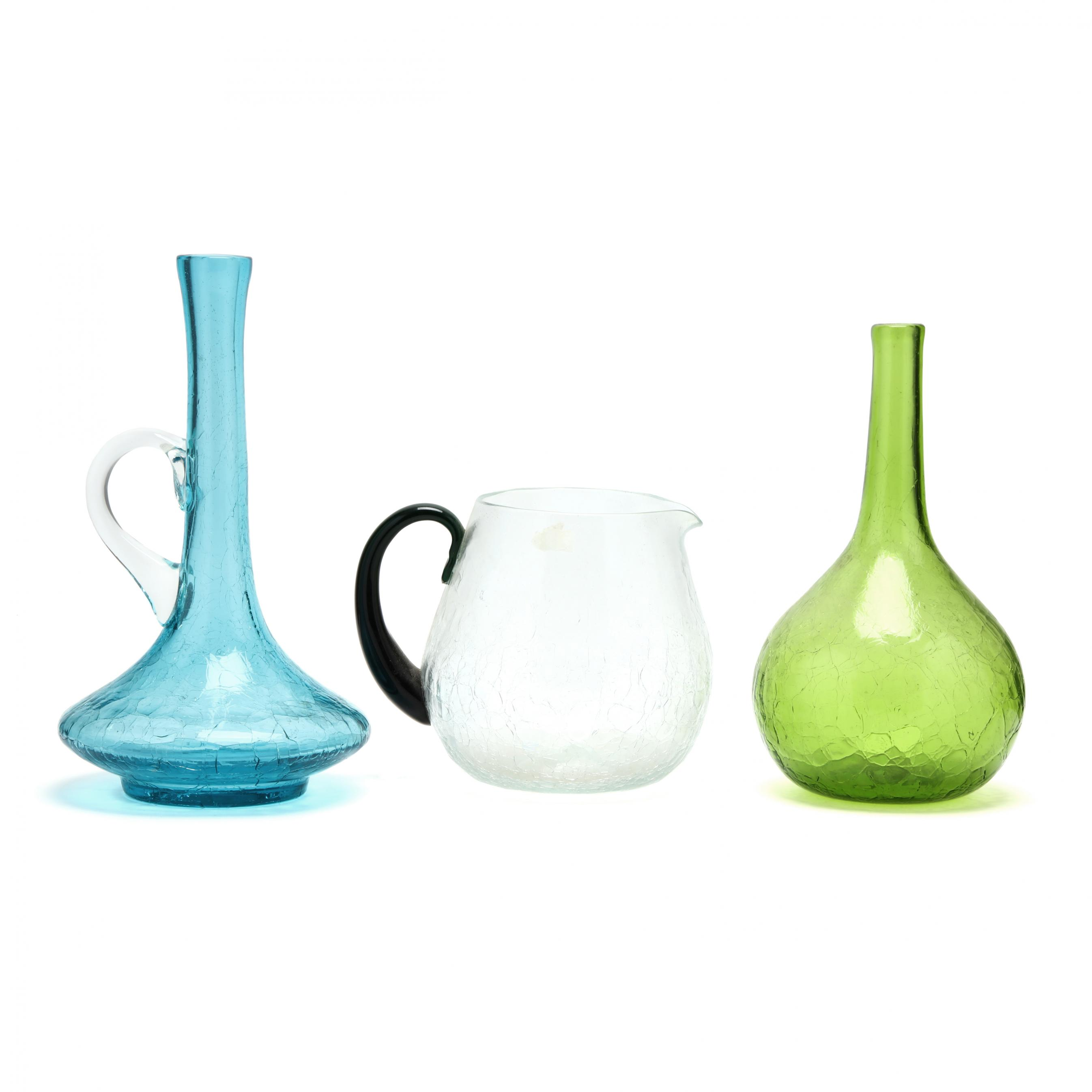 blenko-three-crackle-glass-pitchers