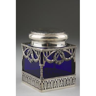 silver-cobalt-glass-tea-caddy-german