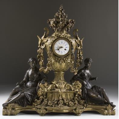 important-raingo-freres-figural-mantel-clock