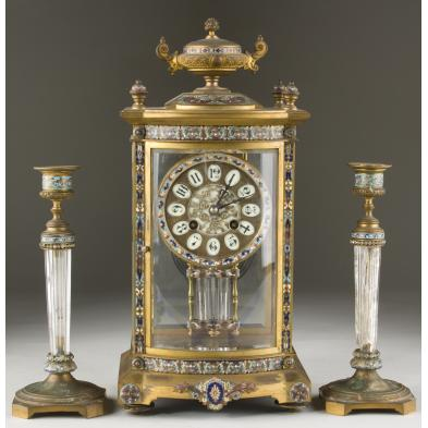 french-cloisonne-mantel-clock-garniture-set